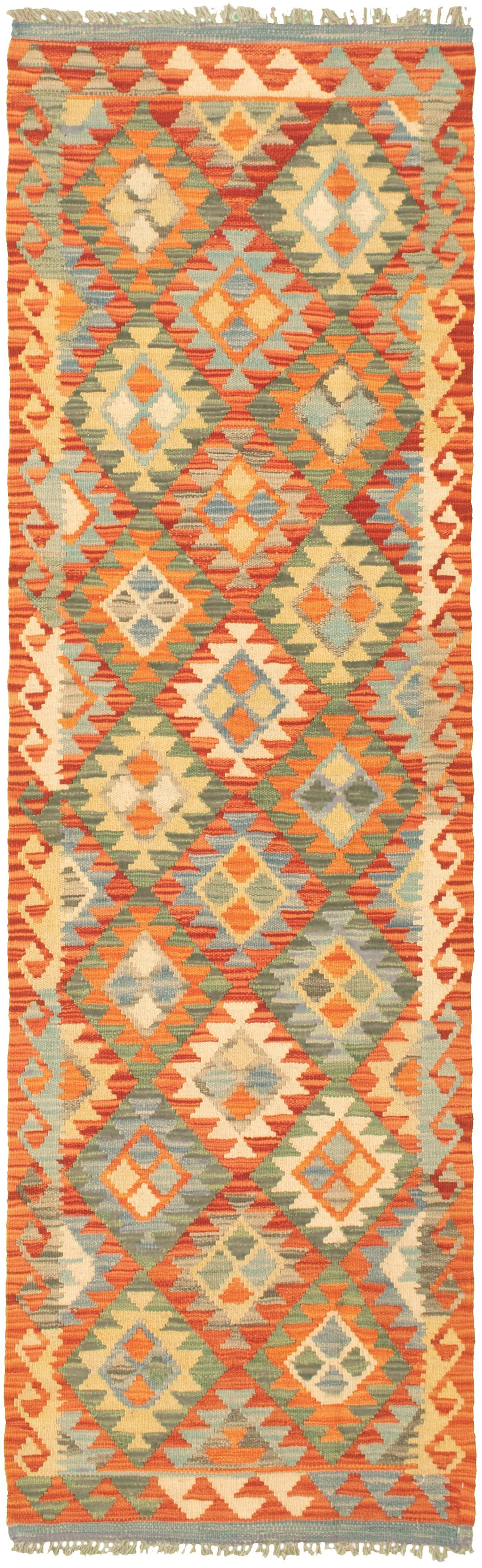 """Hand woven Bold and Colorful  Dark Copper Wool Kilim 2'3"""" x 7'10"""" Size: 2'3"""" x 7'10"""""""