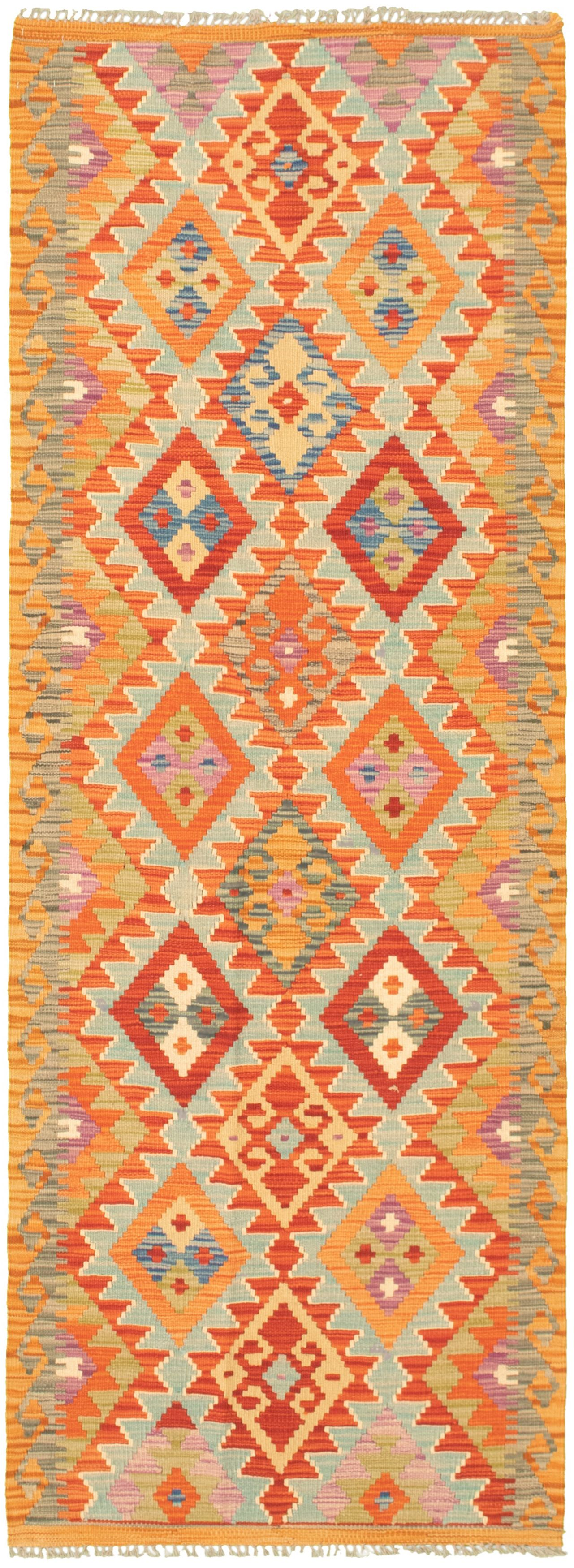 """Hand woven Bold and Colorful  Light Orange Wool Kilim 2'8"""" x 7'10"""" Size: 2'8"""" x 7'10"""""""