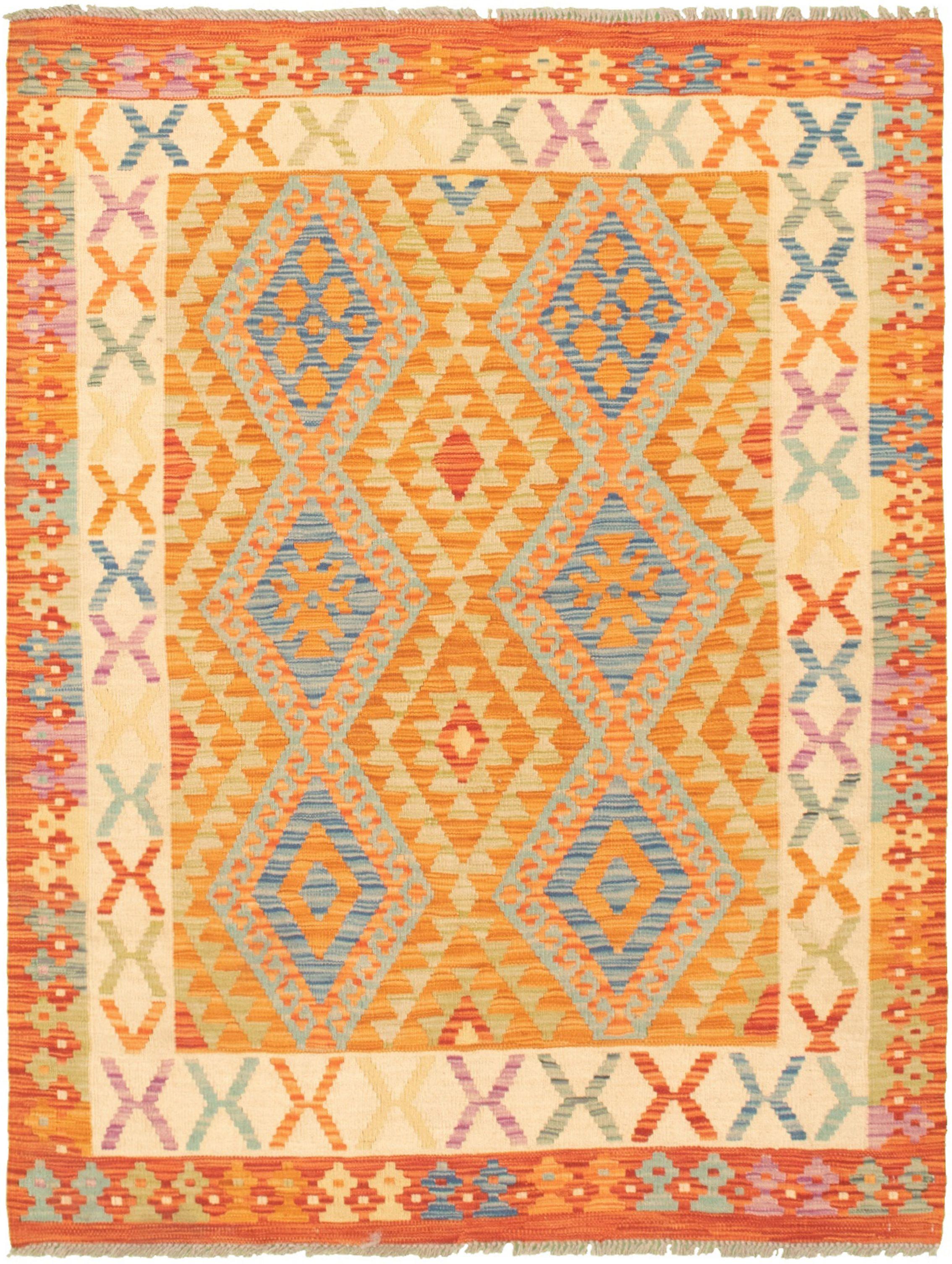 "Hand woven Bold and Colorful  Burnt Orange, Dark Copper Wool Kilim 4'4"" x 5'8"" Size: 4'4"" x 5'8"""