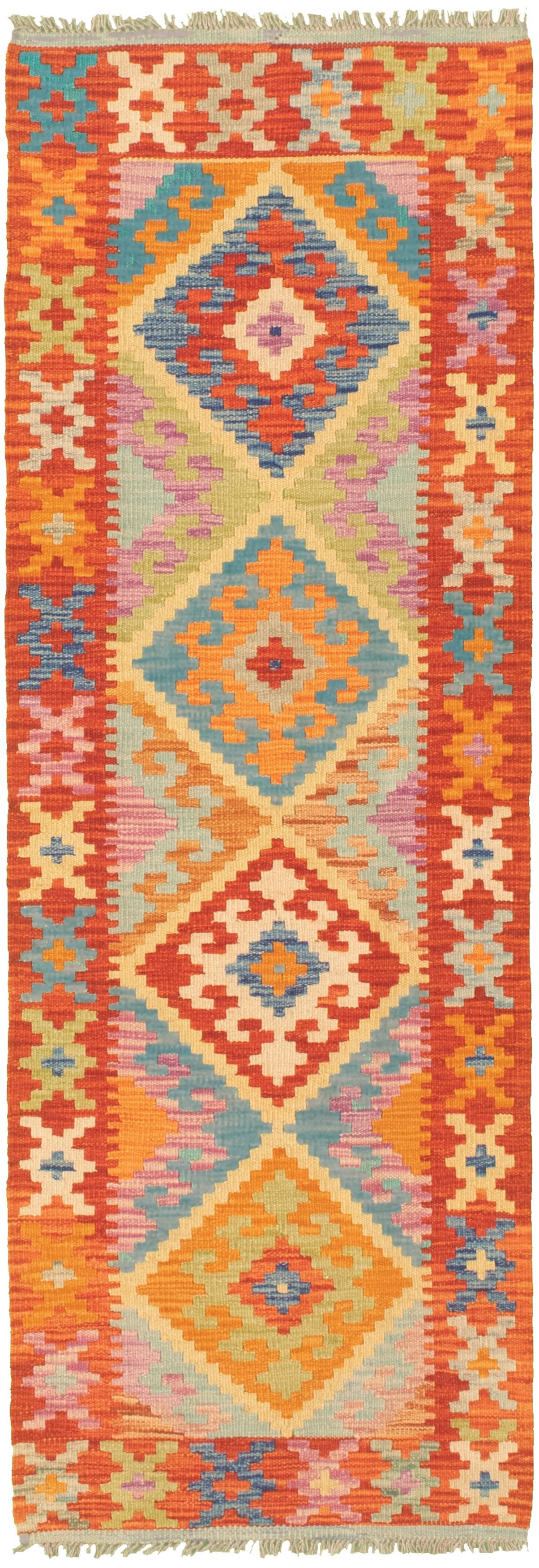 """Hand woven Bold and Colorful  Dark Copper Wool Kilim 2'1"""" x 6'5"""" Size: 2'1"""" x 6'5"""""""