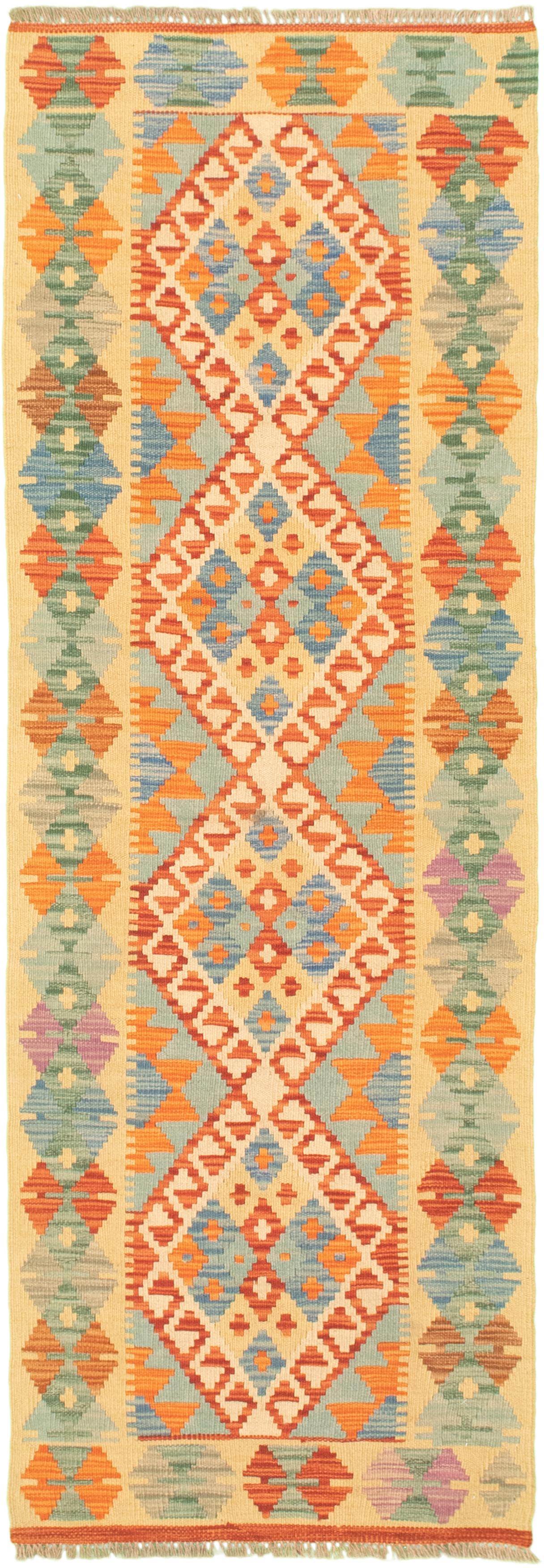 "Hand woven Bold and Colorful  Cream, Light Orange Wool Kilim 2'1"" x 6'5"" Size: 2'1"" x 6'5"""