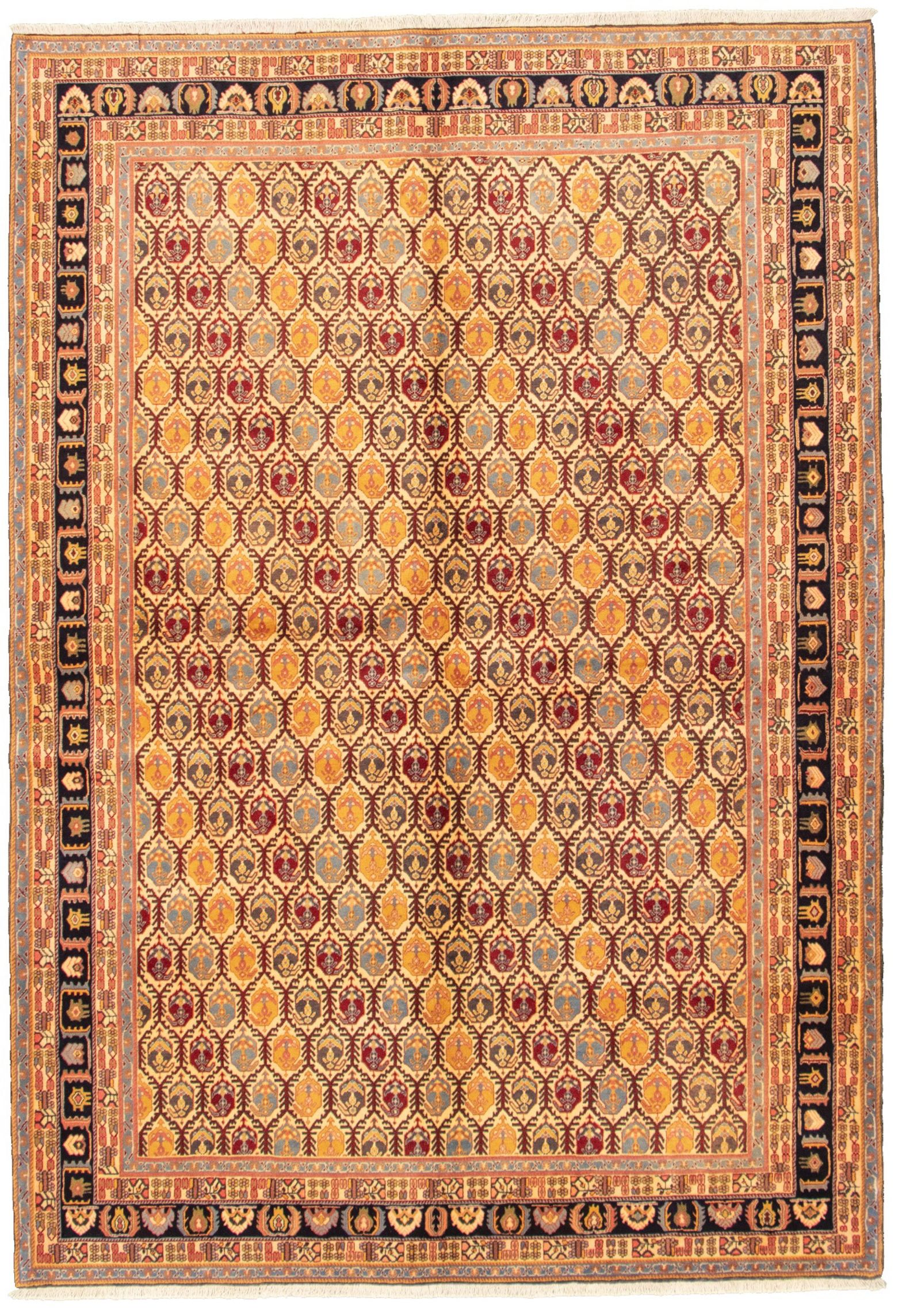 """Hand-knotted Keisari Vintage Cream Wool Rug 6'8"""" x 9'7""""  Size: 6'8"""" x 9'7"""""""