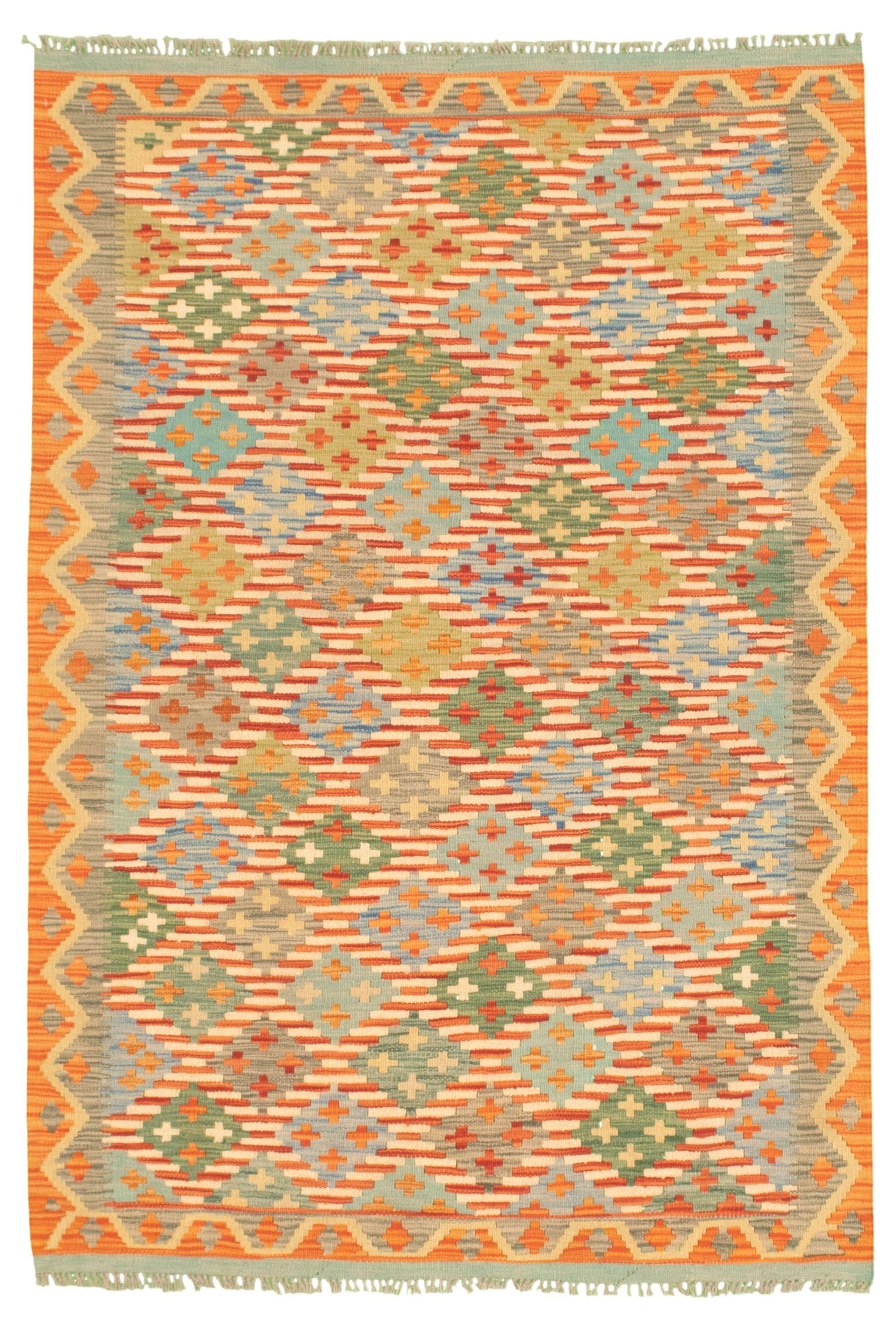 "Hand woven Bold and Colorful  Cream, Light Orange Wool Kilim 4'3"" x 6'4"" Size: 4'3"" x 6'4"""