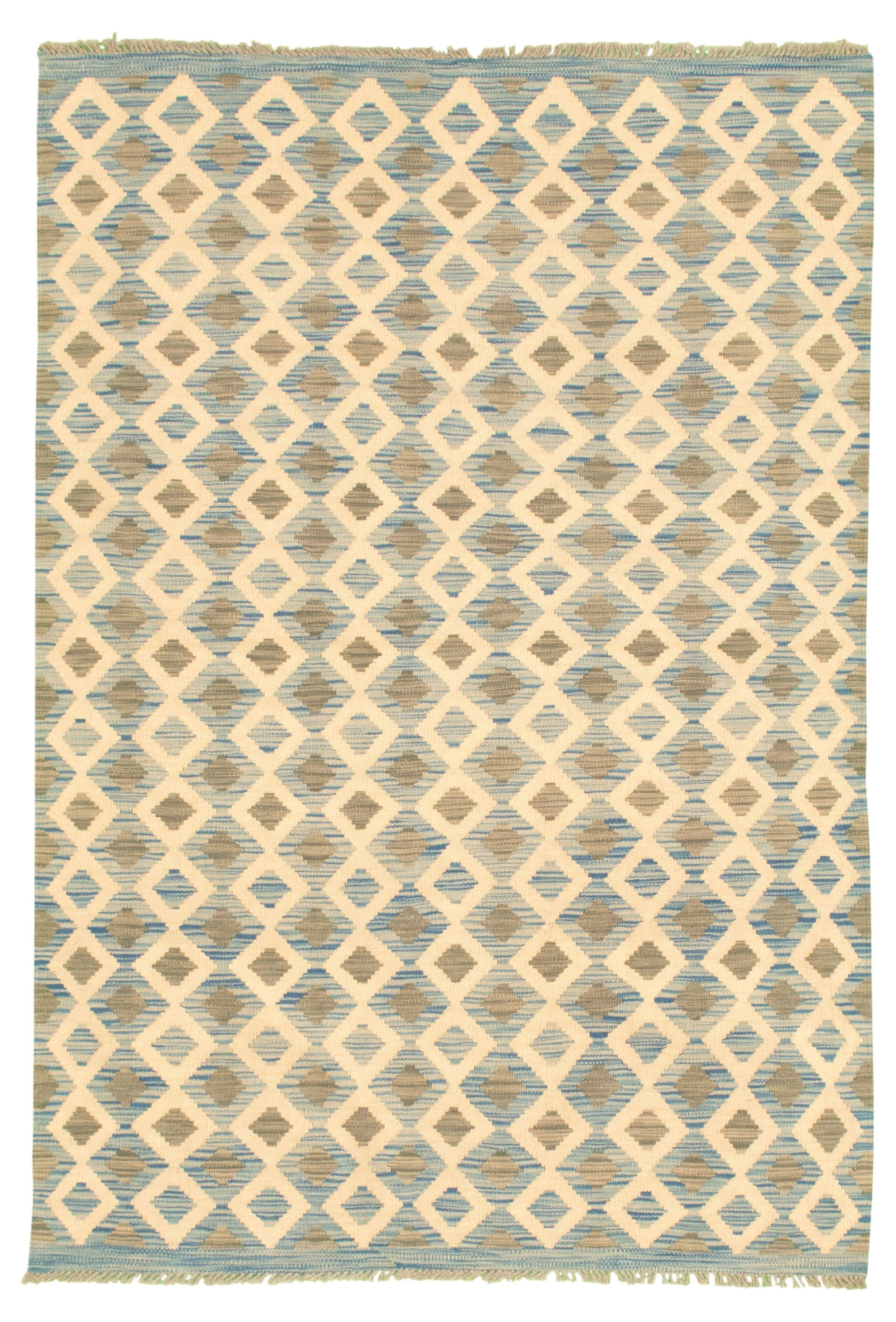 """Hand woven Bold and Colorful  Cream, Light Blue  Wool Kilim 4'2"""" x 6'1"""" Size: 4'2"""" x 6'1"""""""