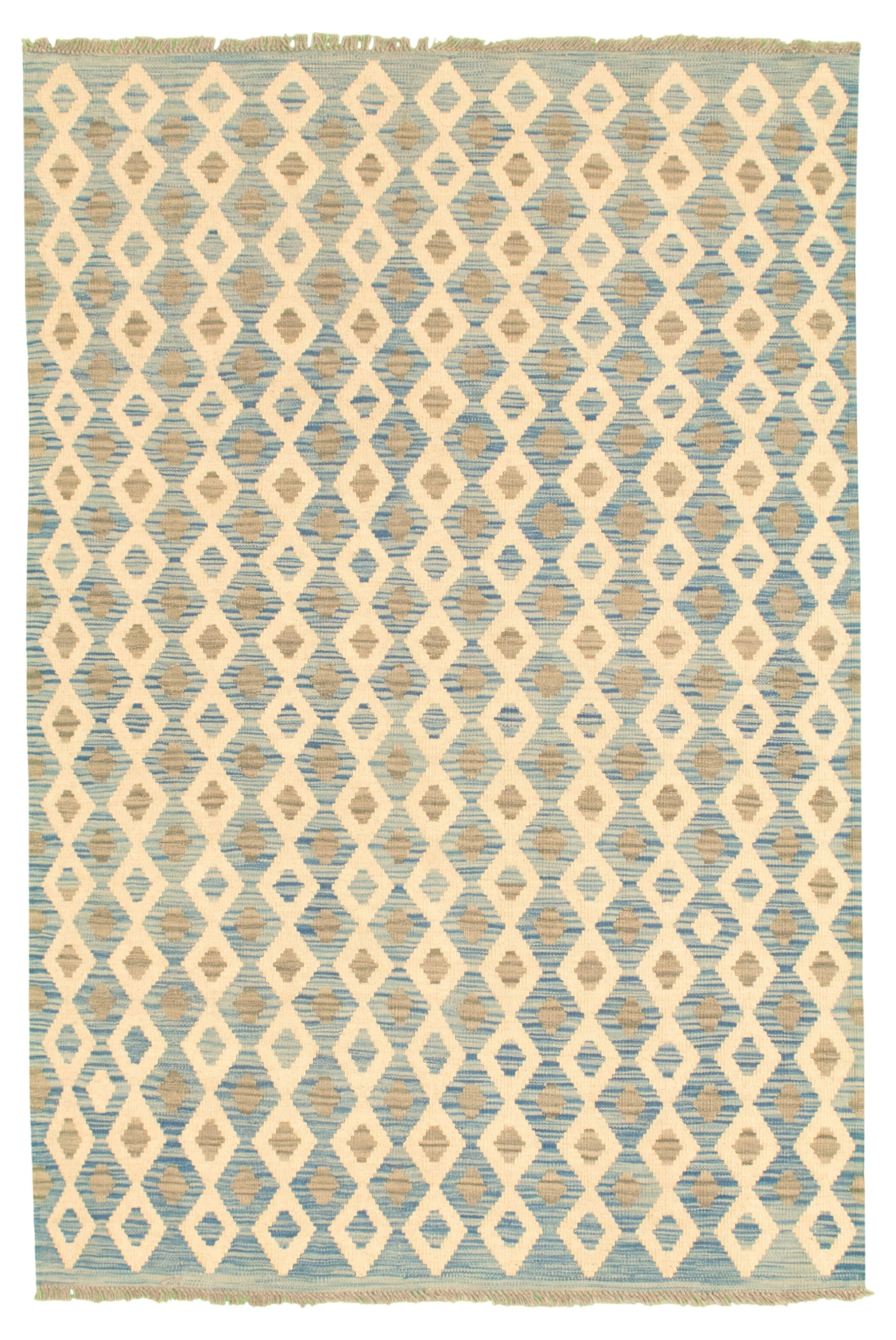 """Hand woven Bold and Colorful  Light Blue  Wool Kilim 4'4"""" x 6'3"""" Size: 4'4"""" x 6'3"""""""
