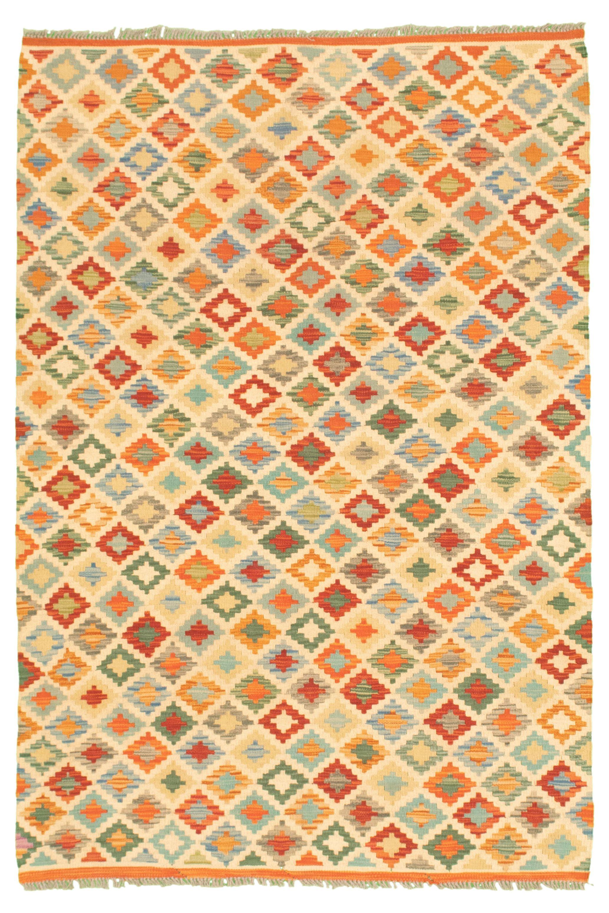 "Hand woven Bold and Colorful  Cream, Dark Copper Wool Kilim 4'3"" x 6'3"" Size: 4'3"" x 6'3"""
