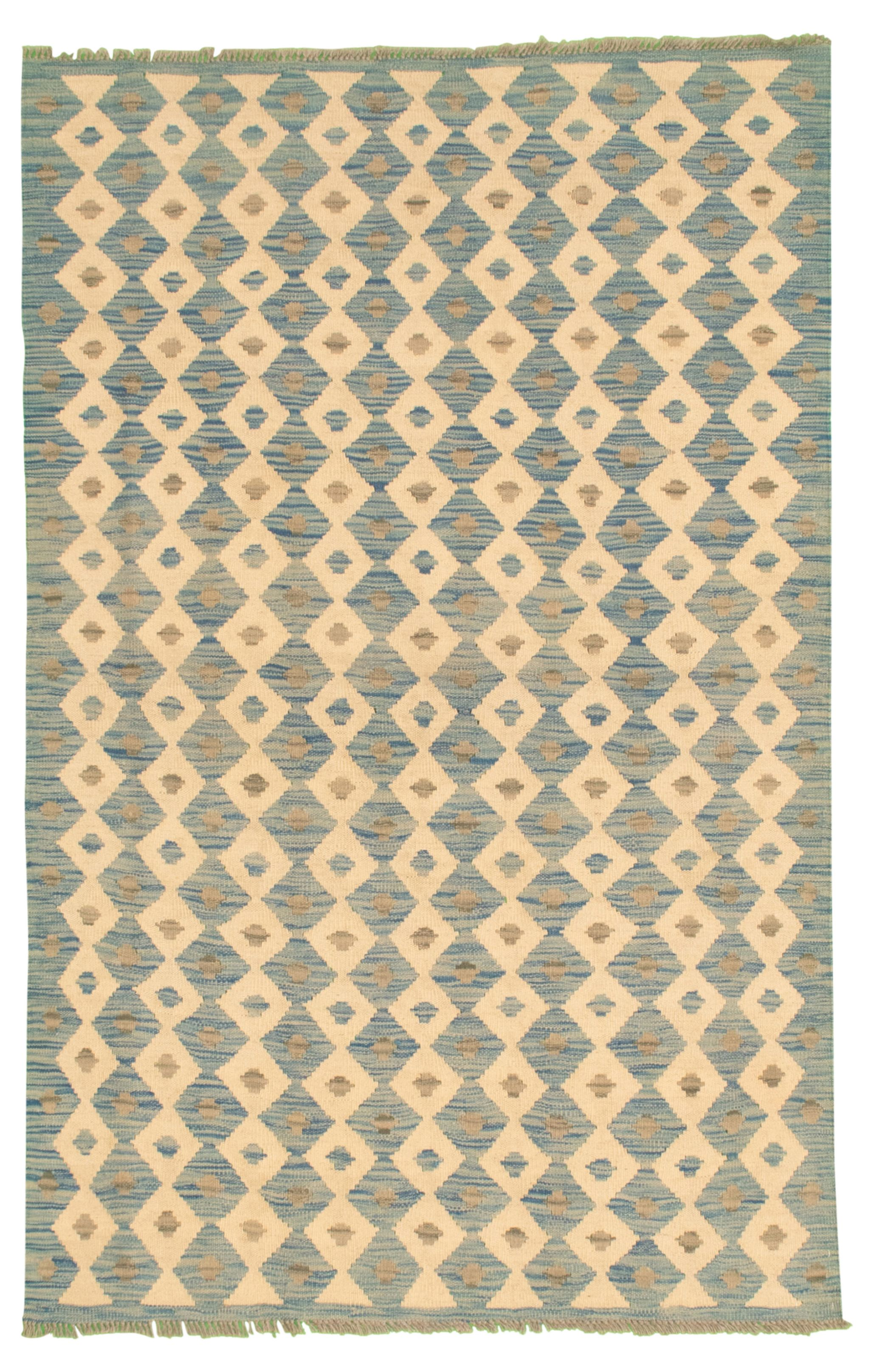 """Hand woven Bold and Colorful  Light Blue  Wool Kilim 4'0"""" x 6'3"""" Size: 4'0"""" x 6'3"""""""