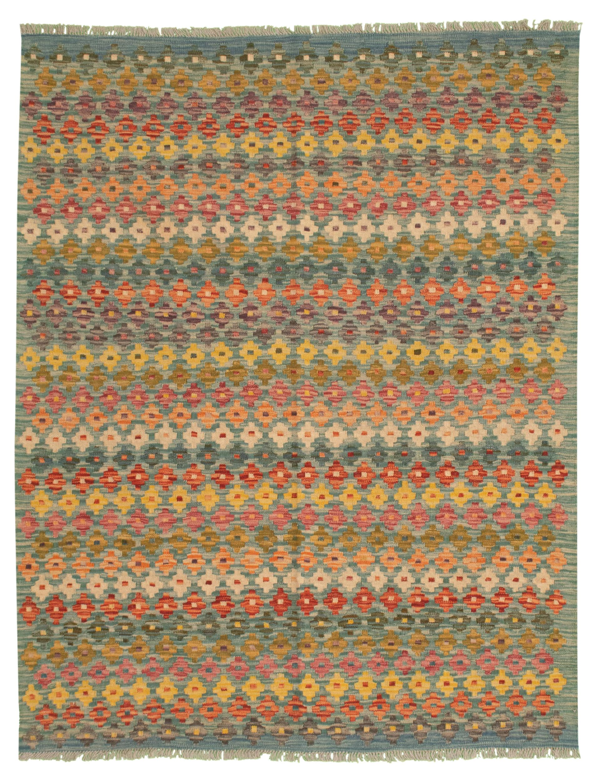 """Hand woven Bold and Colorful  Slate Blue Wool Kilim 5'3"""" x 6'7"""" Size: 5'3"""" x 6'7"""""""