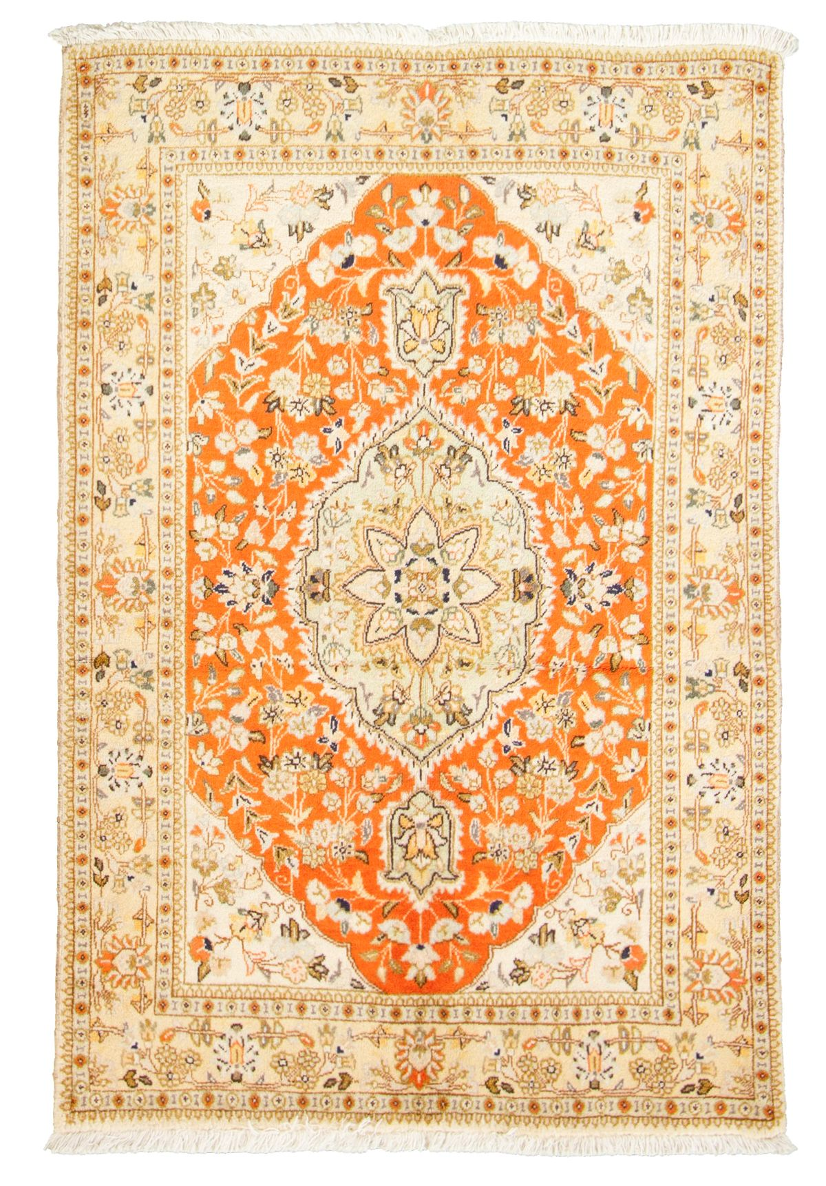 """Hand-knotted Tabriz  Wool Rug 3'9"""" x 5'8"""" Size: 3'9"""" x 5'8"""""""