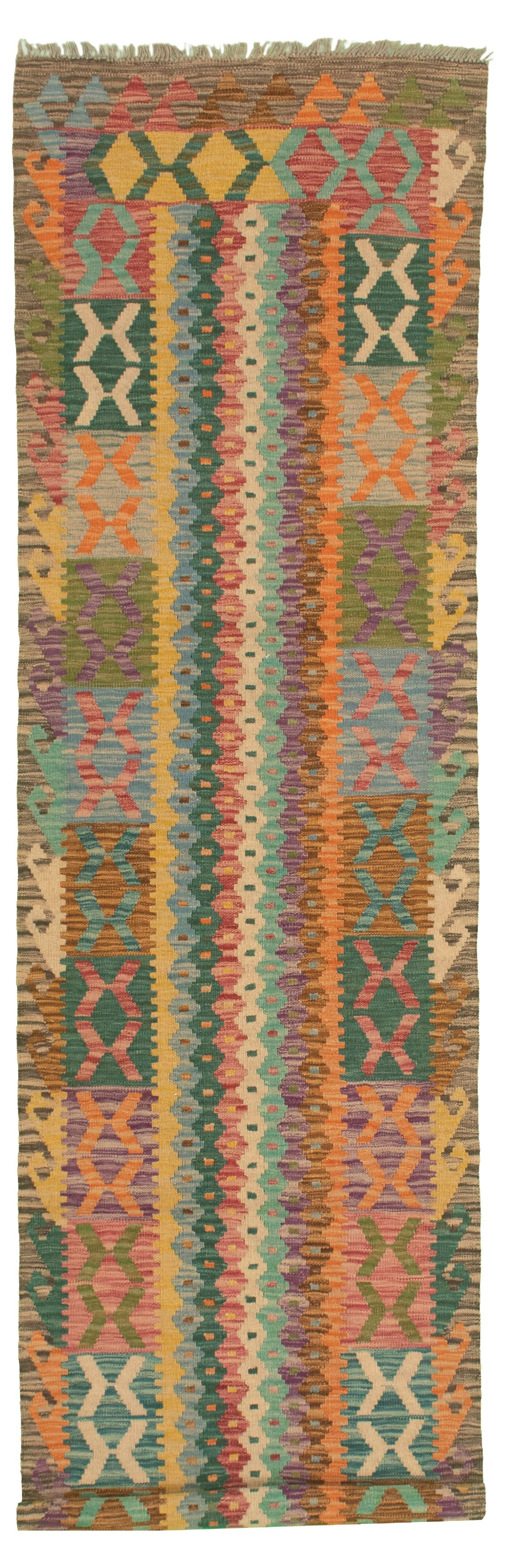 """Hand woven Bold and Colorful  Light Orange, Teal Wool Kilim 2'8"""" x 9'8"""" Size: 2'8"""" x 9'8"""""""