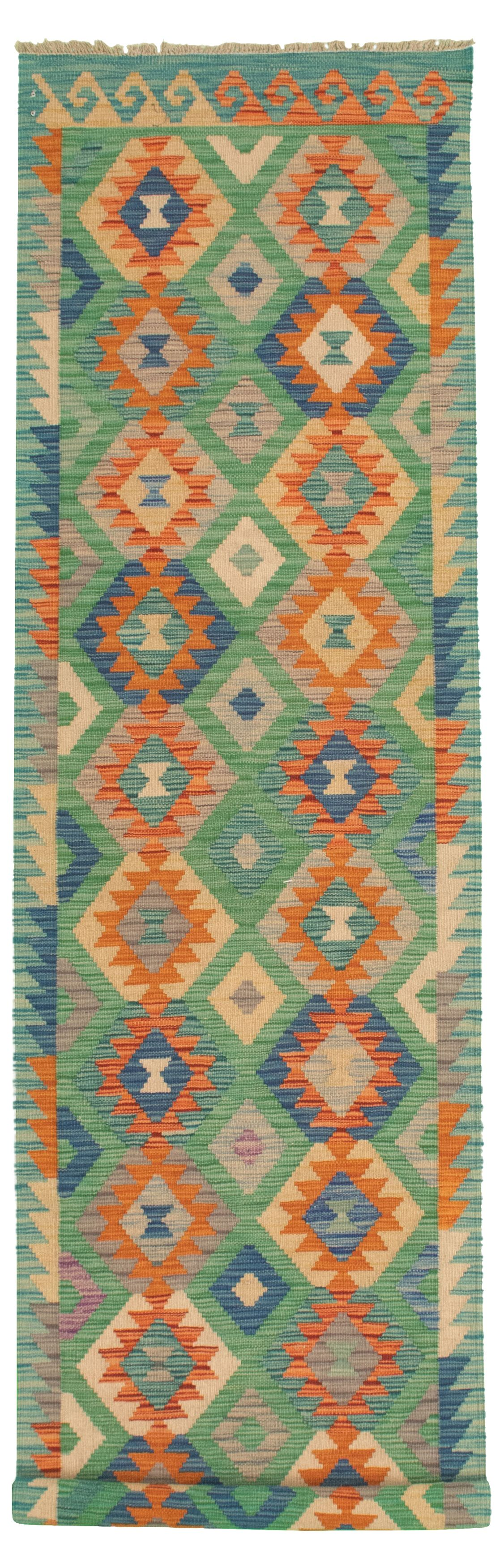 """Hand woven Bold and Colorful  Light Orange, Turquoise Wool Kilim 2'7"""" x 9'10"""" Size: 2'7"""" x 9'10"""""""