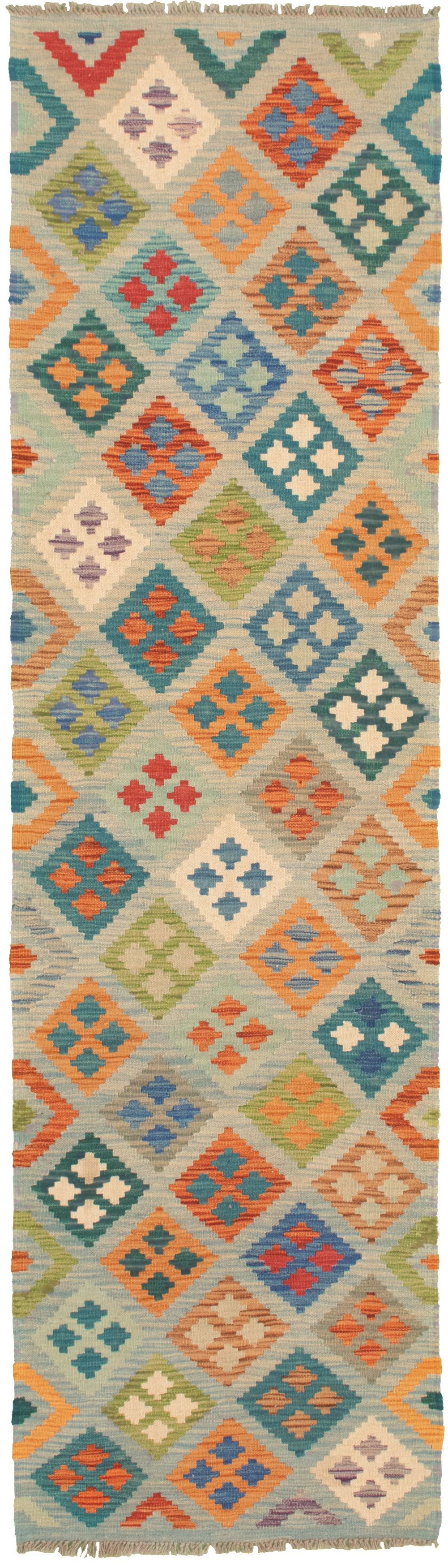 """Hand woven Bold and Colorful  Cream, Light Blue  Wool Kilim 2'6"""" x 9'9"""" Size: 2'6"""" x 9'9"""""""