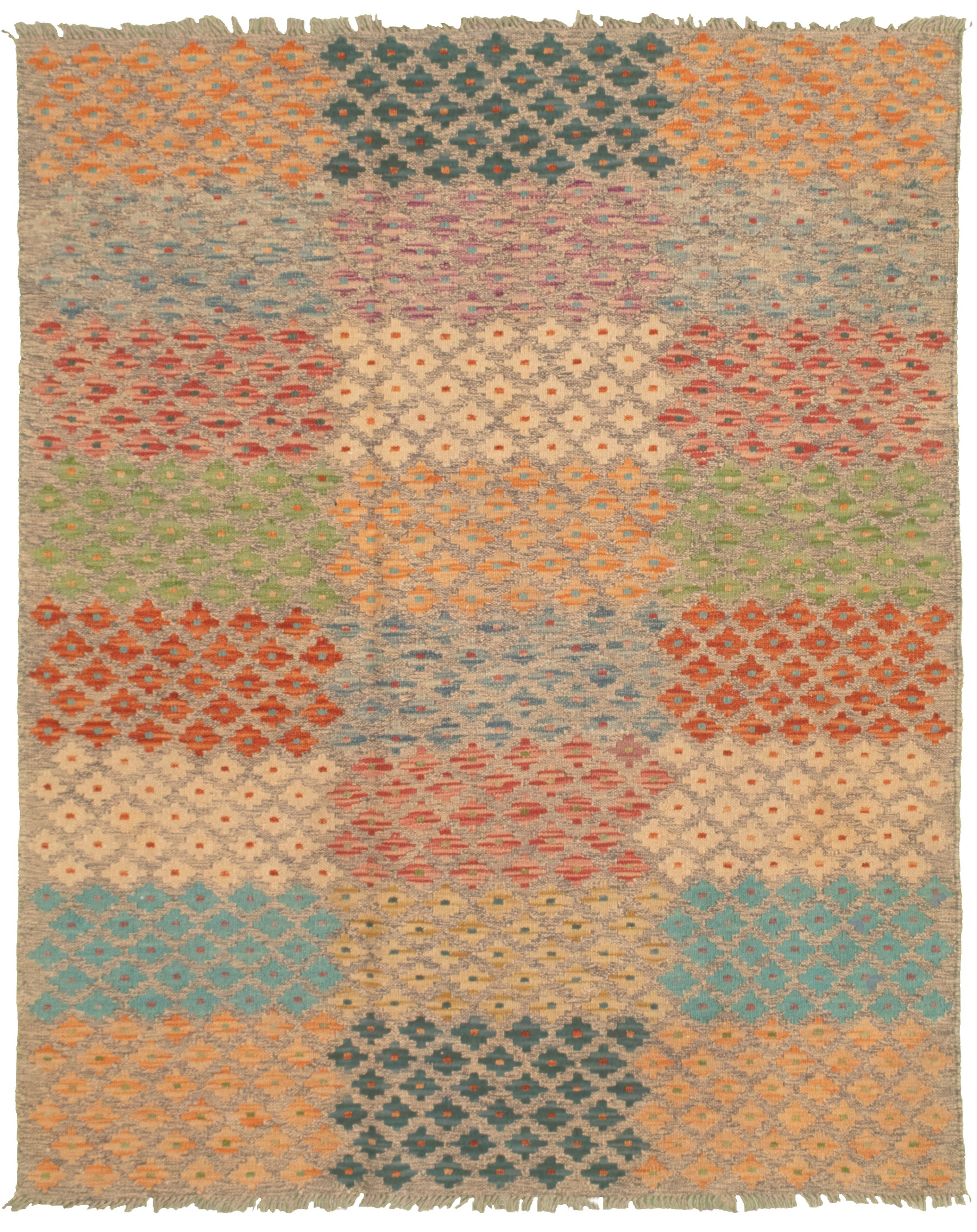 "Hand woven Bold and Colorful  Cream, Dark Grey Wool Kilim 4'5"" x 5'7"" Size: 4'5"" x 5'7"""