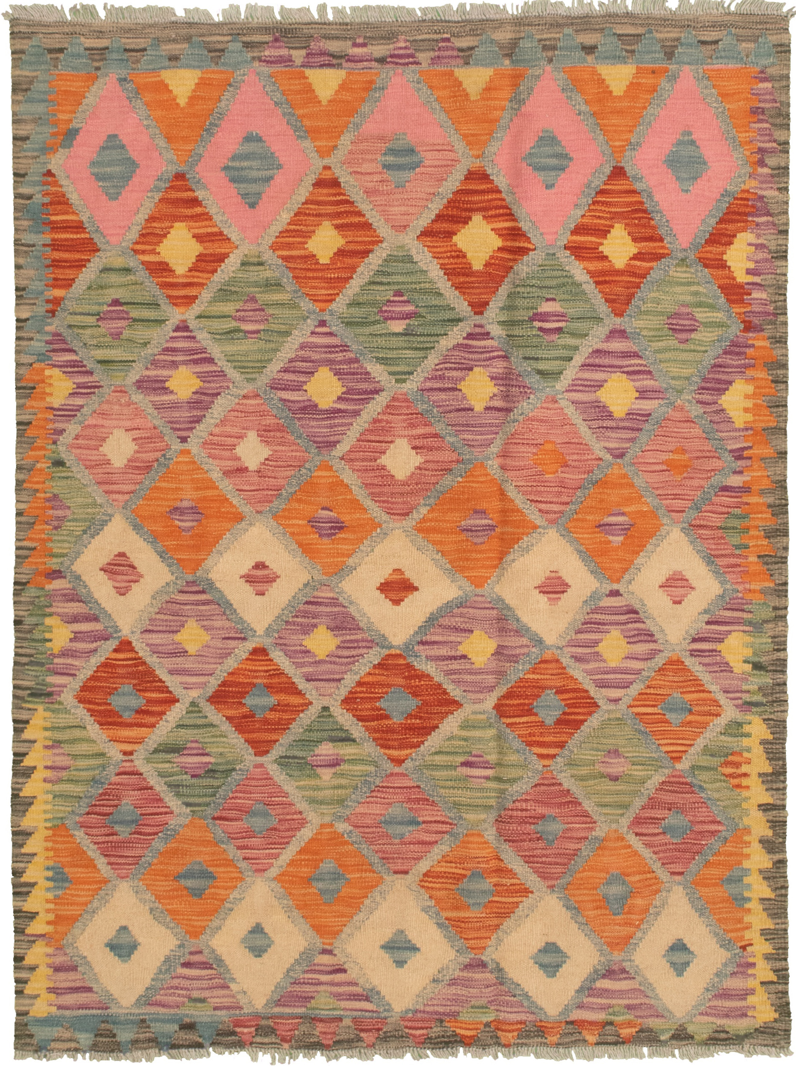 "Hand woven Bold and Colorful  Orange, Purple Wool Kilim 4'3"" x 5'9"" Size: 4'3"" x 5'9"""