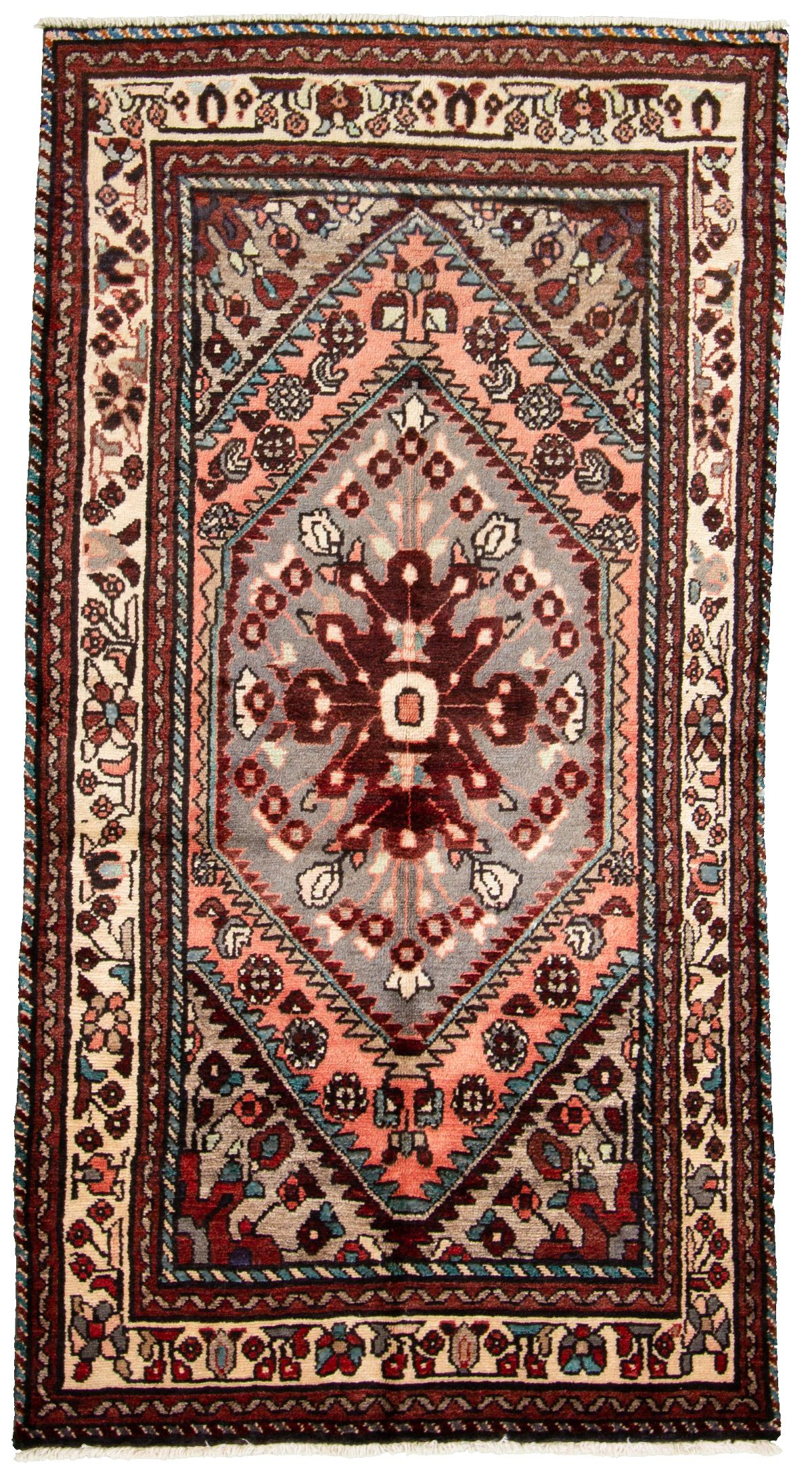 "Hand-knotted Hamadan  Wool Rug 3'7"" x 6'8"" Size: 3'7"" x 6'8"""