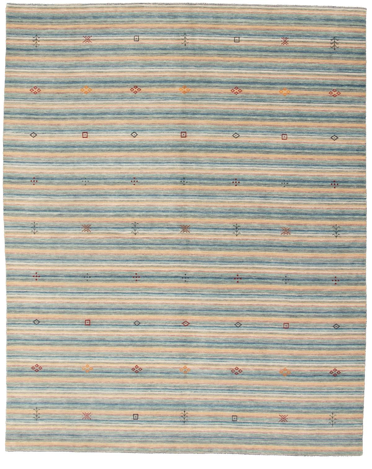 "Hand-knotted Kashkuli Gabbeh Blue, Cream Wool Rug 7'11"" x 9'11"" Size: 7'11"" x 9'11"""