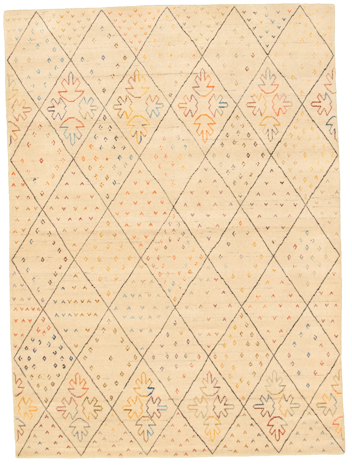 "Hand-knotted Kashkuli Gabbeh Ivory Wool Rug 5'9"" x 7'9"" Size: 5'9"" x 7'9"""
