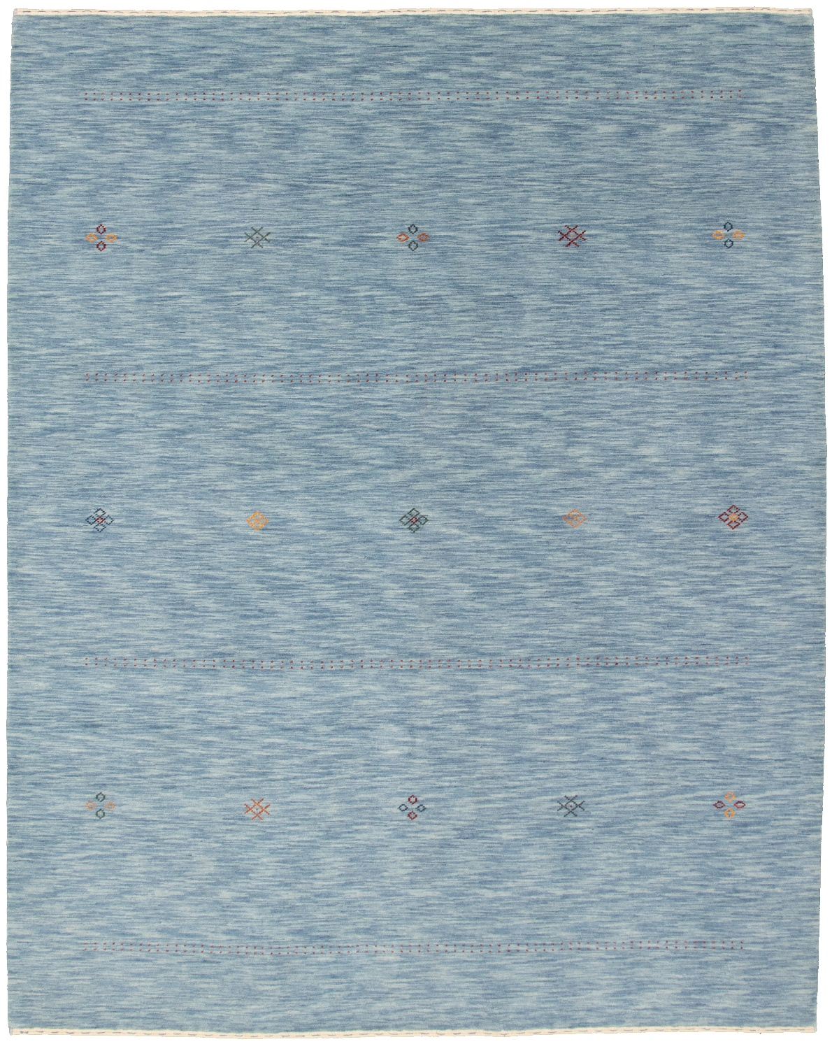 """Hand-knotted Kashkuli Gabbeh Light Blue  Wool Rug 8'0"""" x 10'0"""" Size: 8'0"""" x 10'0"""""""