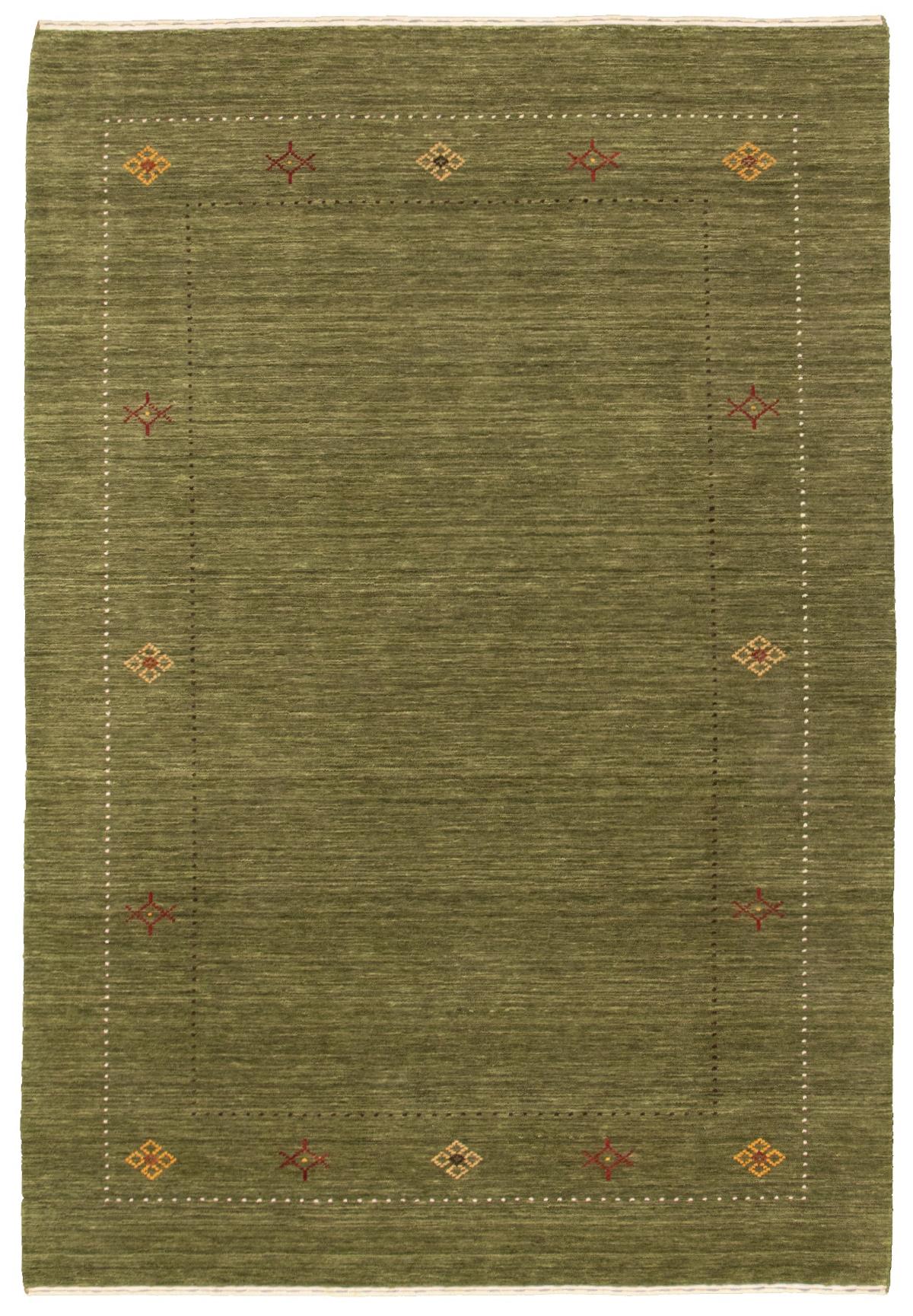 "Hand-knotted Kashkuli Gabbeh Green Wool Rug 5'2"" x 7'8"" Size: 5'2"" x 7'8"""