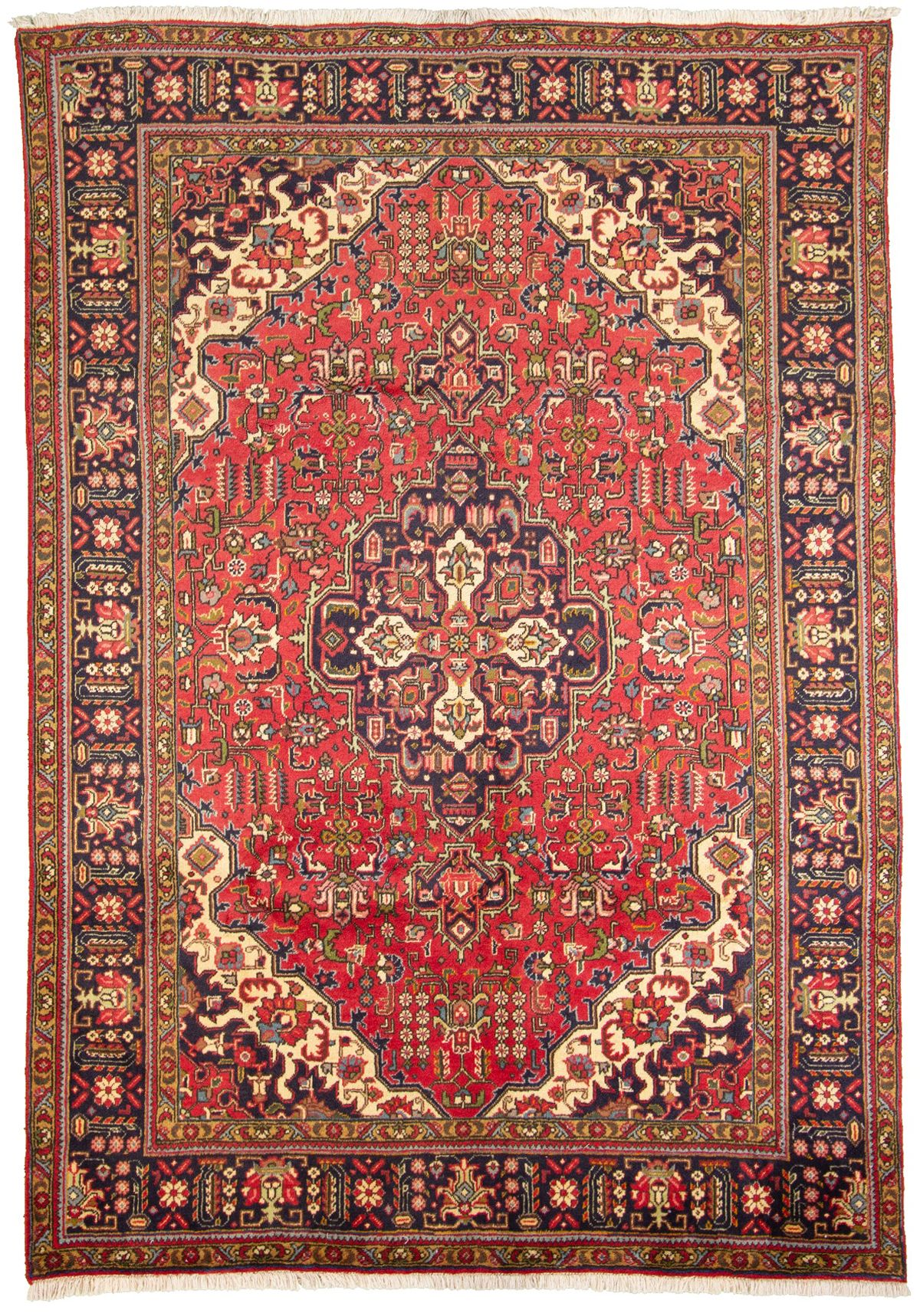 """Hand-knotted Tabriz  Wool Rug 6'7"""" x 9'5"""" Size: 6'7"""" x 9'5"""""""