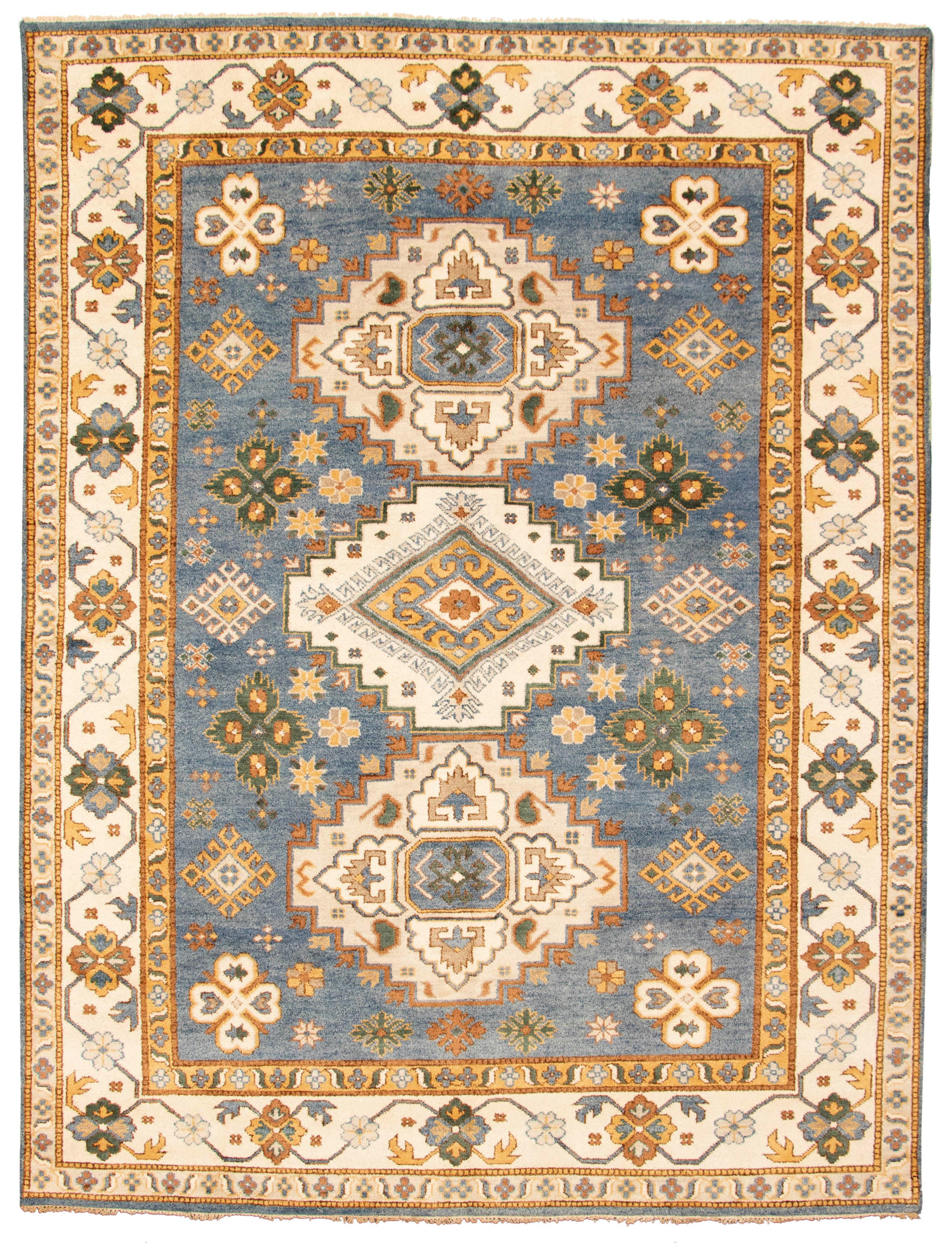 "Hand-knotted Royal Kazak Light Denim Blue Wool Rug 8'11"" x 11'9"" Size: 8'11"" x 11'9"""