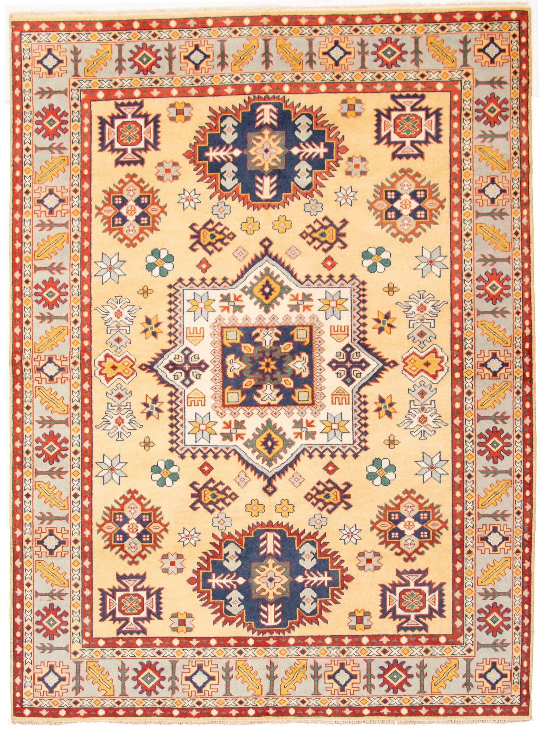"Hand-knotted Royal Kazak Light Gold Wool Rug 8'9"" x 11'9"" Size: 8'9"" x 11'9"""