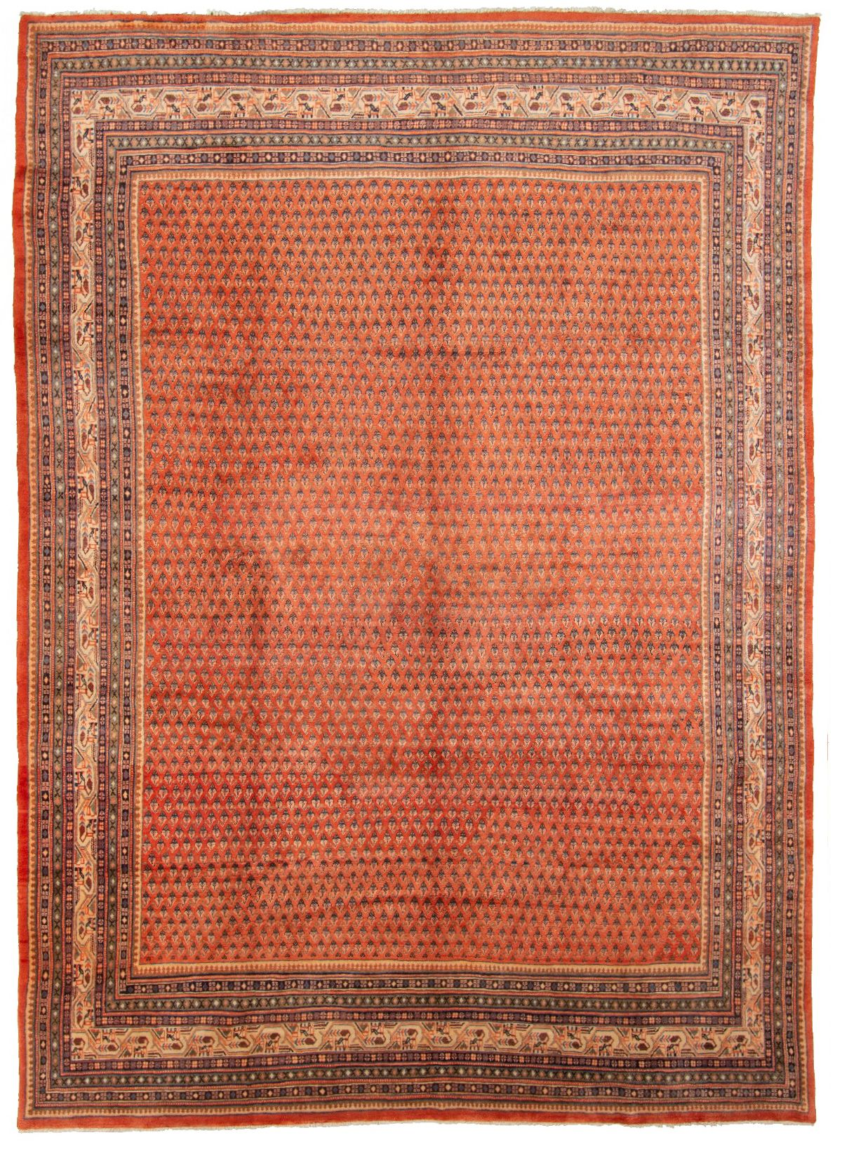"""Hand-knotted Arak  Wool Rug 8'10"""" x 12'2"""" Size: 8'10"""" x 12'2"""""""