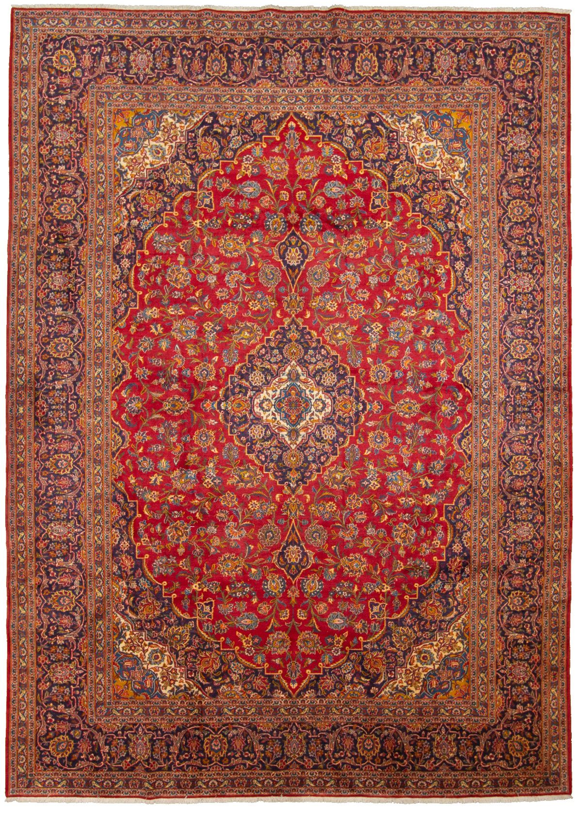 """Hand-knotted Kashan  Wool Rug 9'10"""" x 13'9"""" Size: 9'10"""" x 13'9"""""""