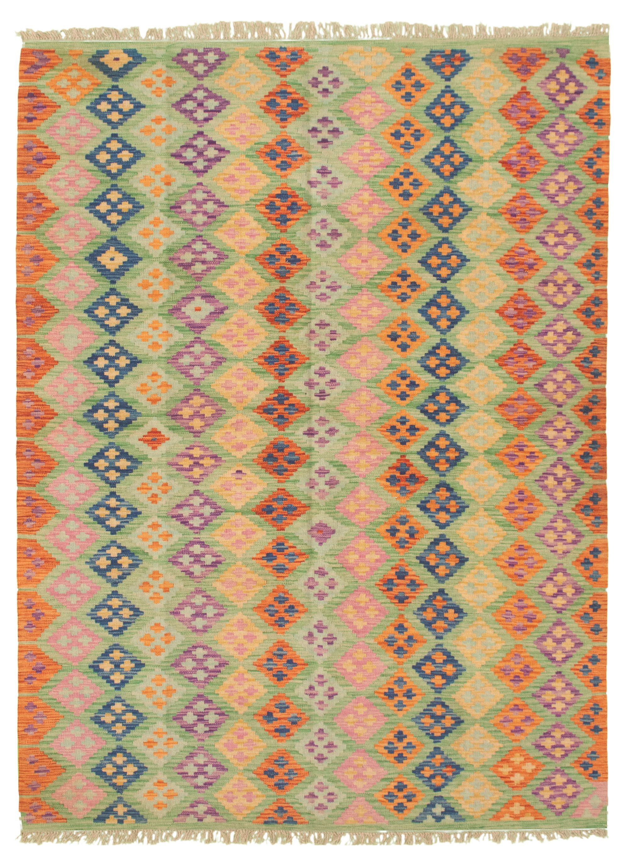 "Hand woven Bold and Colorful  Orange Wool Kilim 6'2"" x 8'4"" Size: 6'2"" x 8'4"""