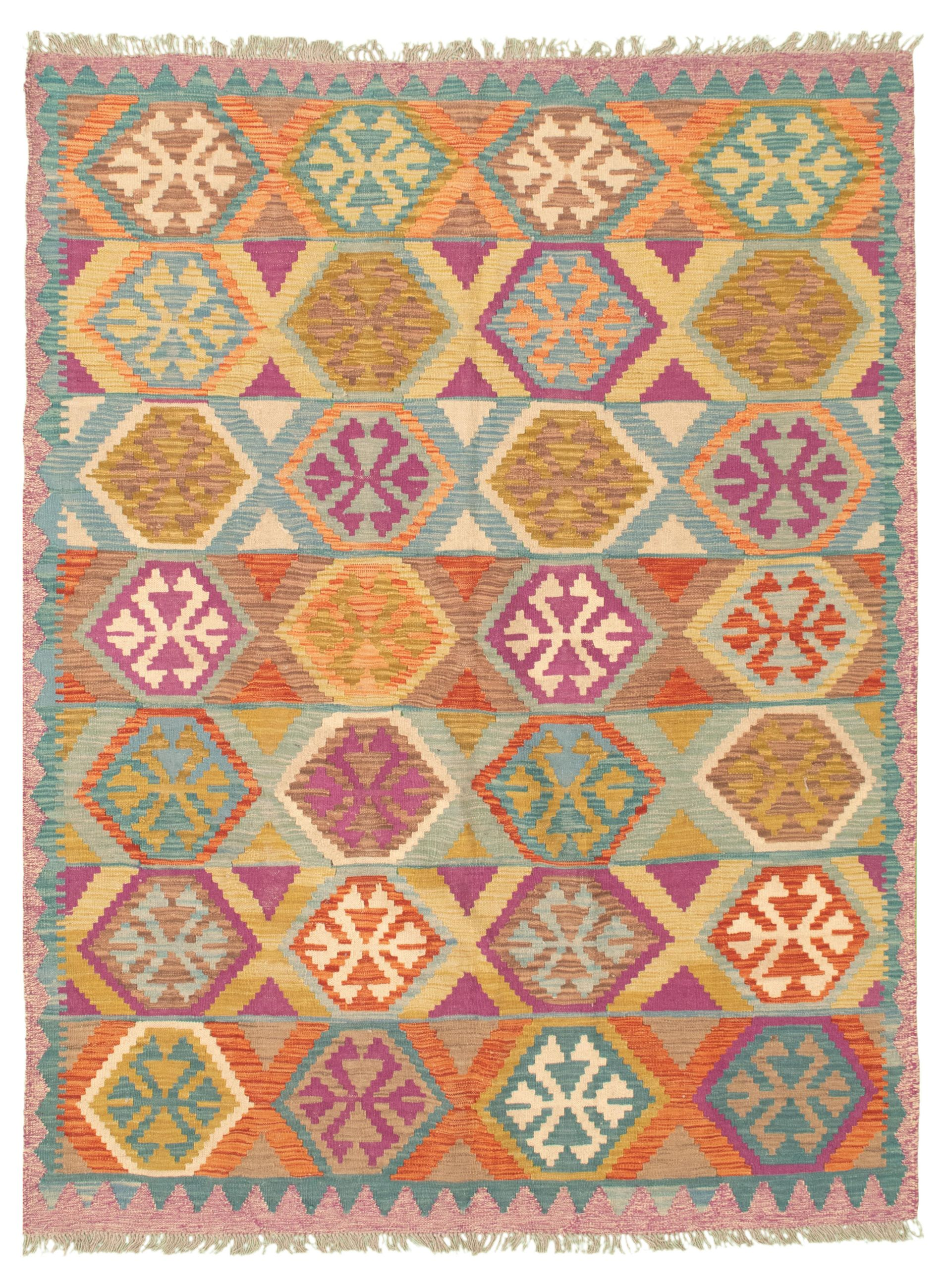 "Hand woven Bold and Colorful  Dark Copper, Light Orange Wool Kilim 5'10"" x 7'10"" Size: 5'10"" x 7'10"""