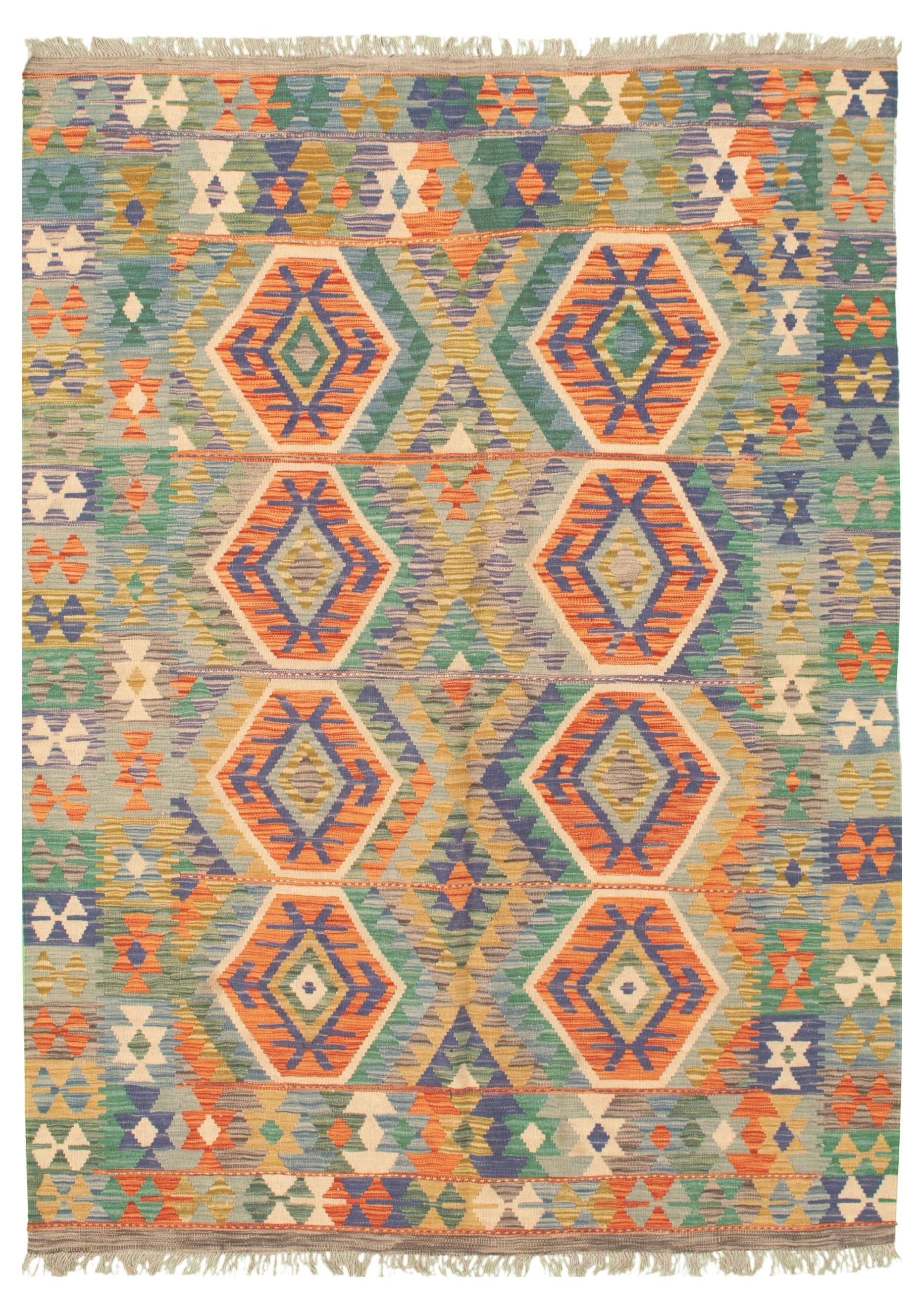"Hand woven Bold and Colorful  Orange Wool Kilim 5'8"" x 7'10"" Size: 5'8"" x 7'10"""
