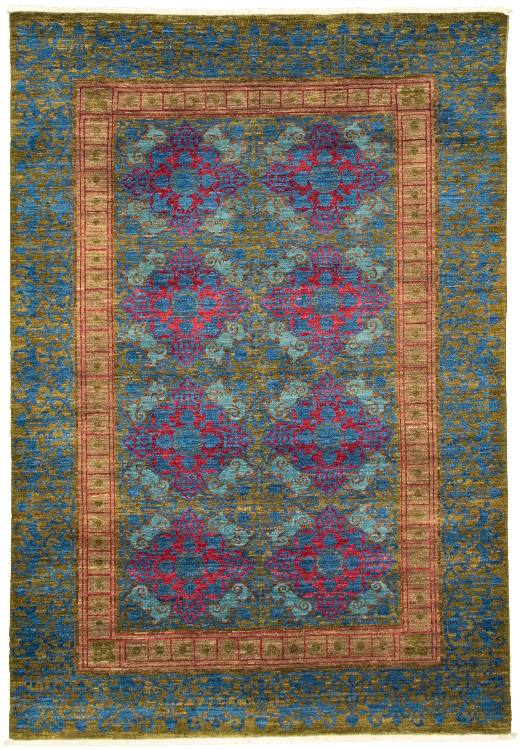 """Hand-knotted Signature Collection Dark Blue Wool Rug 6'1"""" x 8'9"""" Size: 6'1"""" x 8'10"""""""
