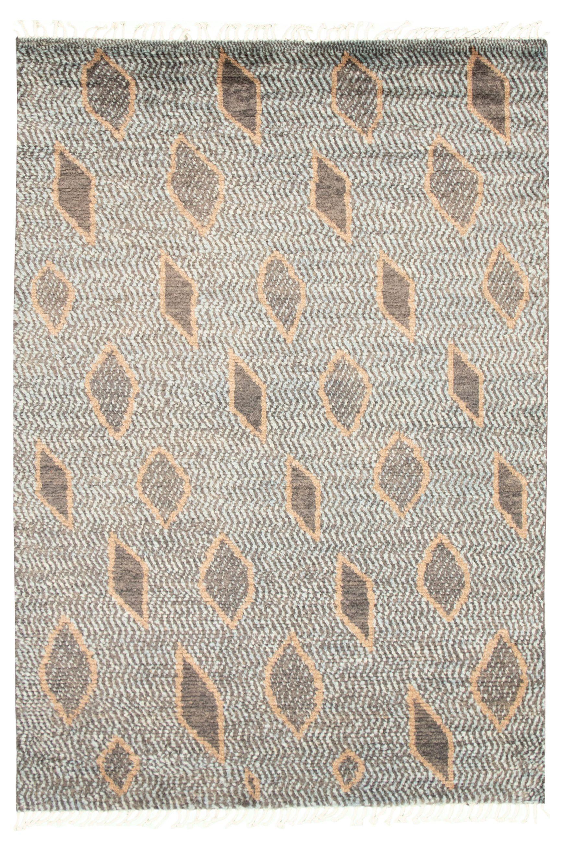 "Hand-knotted Marrakech Dark Grey, Light Blue  Wool Rug 6'1"" x 9'1"" Size: 6'1"" x 9'1"""