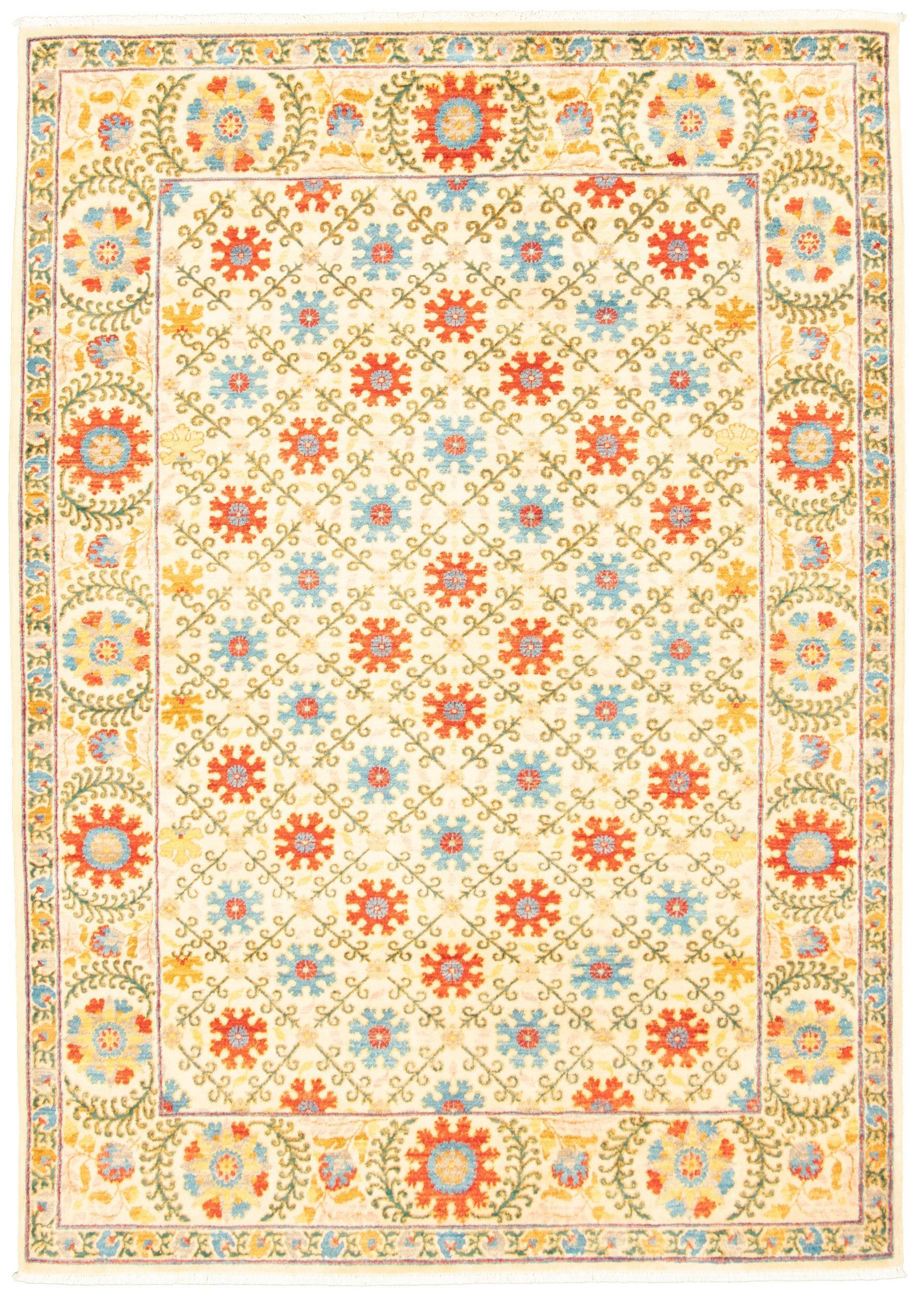 """Hand-knotted Signature Collection Cream Wool Rug 6'2"""" x 8'8"""" Size: 6'2"""" x 8'8"""""""