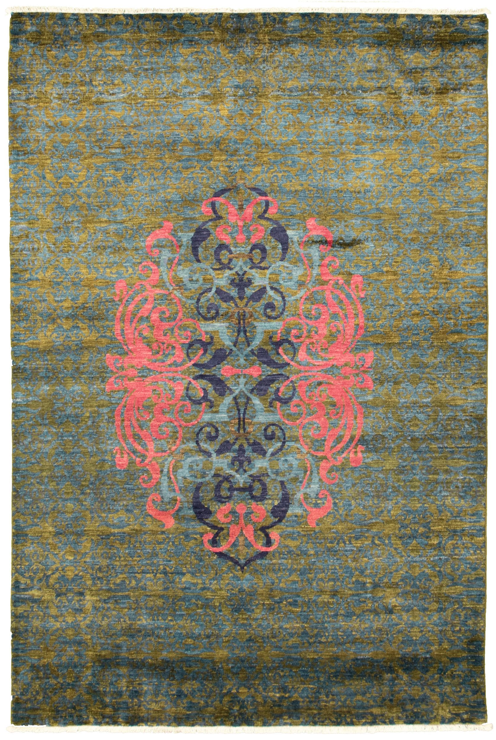 """Hand-knotted Signature Collection Dark Blue, Olive Wool Rug 6'0"""" x 9'1"""" Size: 6'0"""" x 9'1"""""""