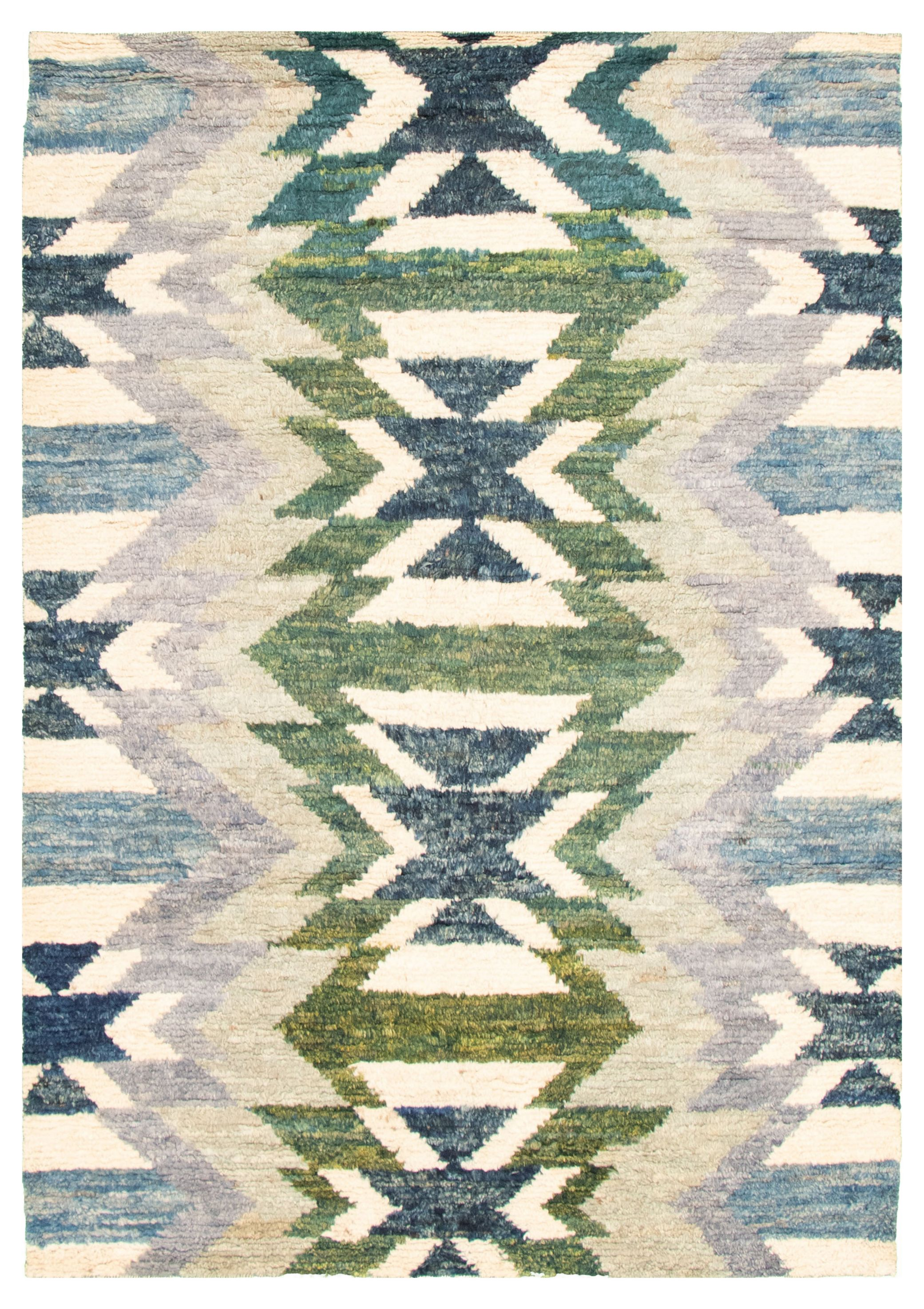 """Hand-knotted Abstract Lahore Legacy Cream, Slate Blue Wool Rug 5'4"""" x 7'7"""" Size: 5'4"""" x 7'7"""""""