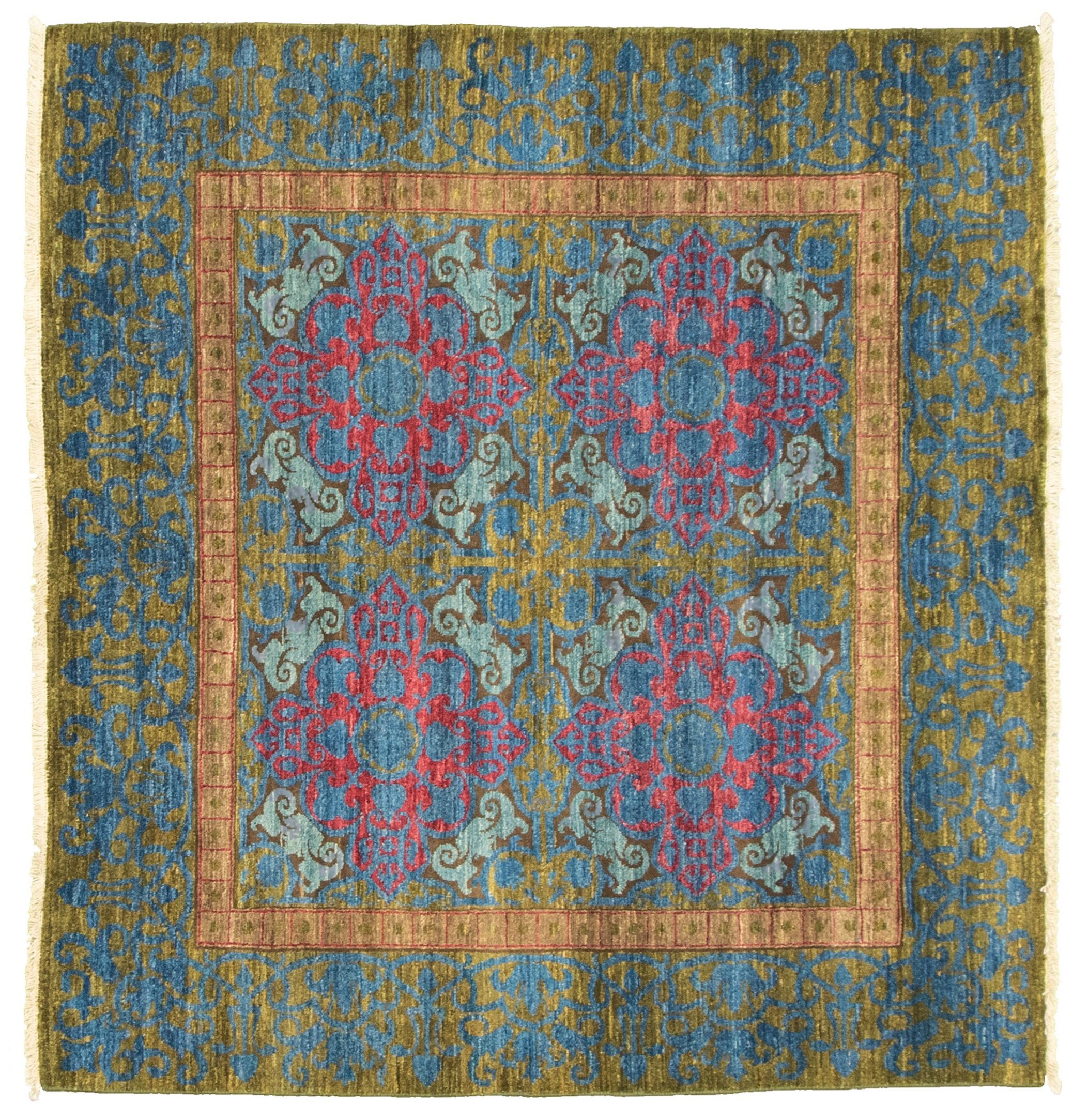 """Hand-knotted Signature Collection Dark Blue, Olive Wool Rug 5'1"""" x 4'9"""" Size: 5'1"""" x 4'9"""""""