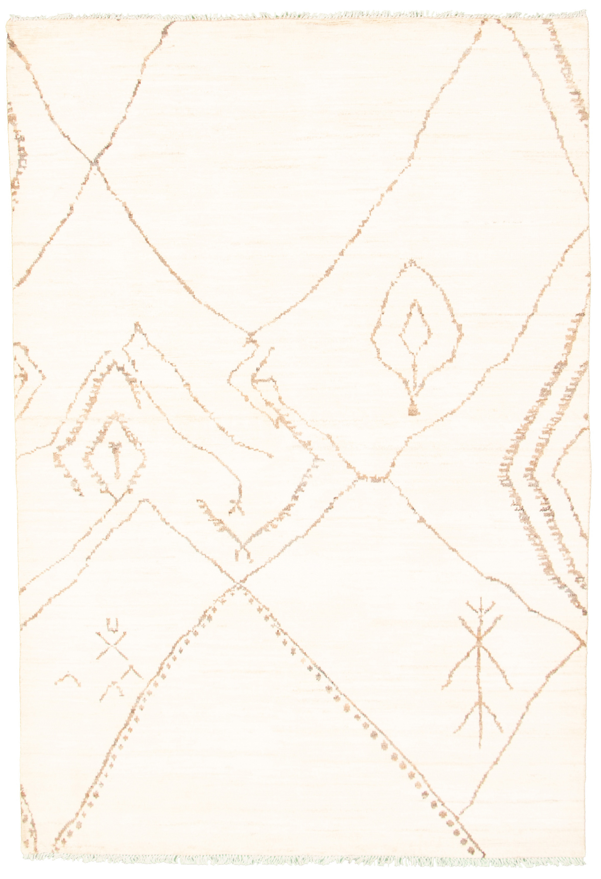 """Hand-knotted Marrakech Cream Wool Rug 5'11"""" x 8'10"""" Size: 5'11"""" x 8'10"""""""