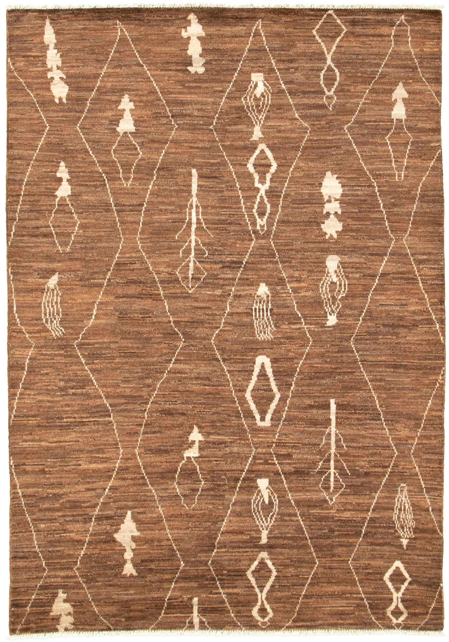 "Hand-knotted Marrakech Dark Brown Wool Rug 6'0"" x 8'8"" Size: 6'0"" x 8'8"""