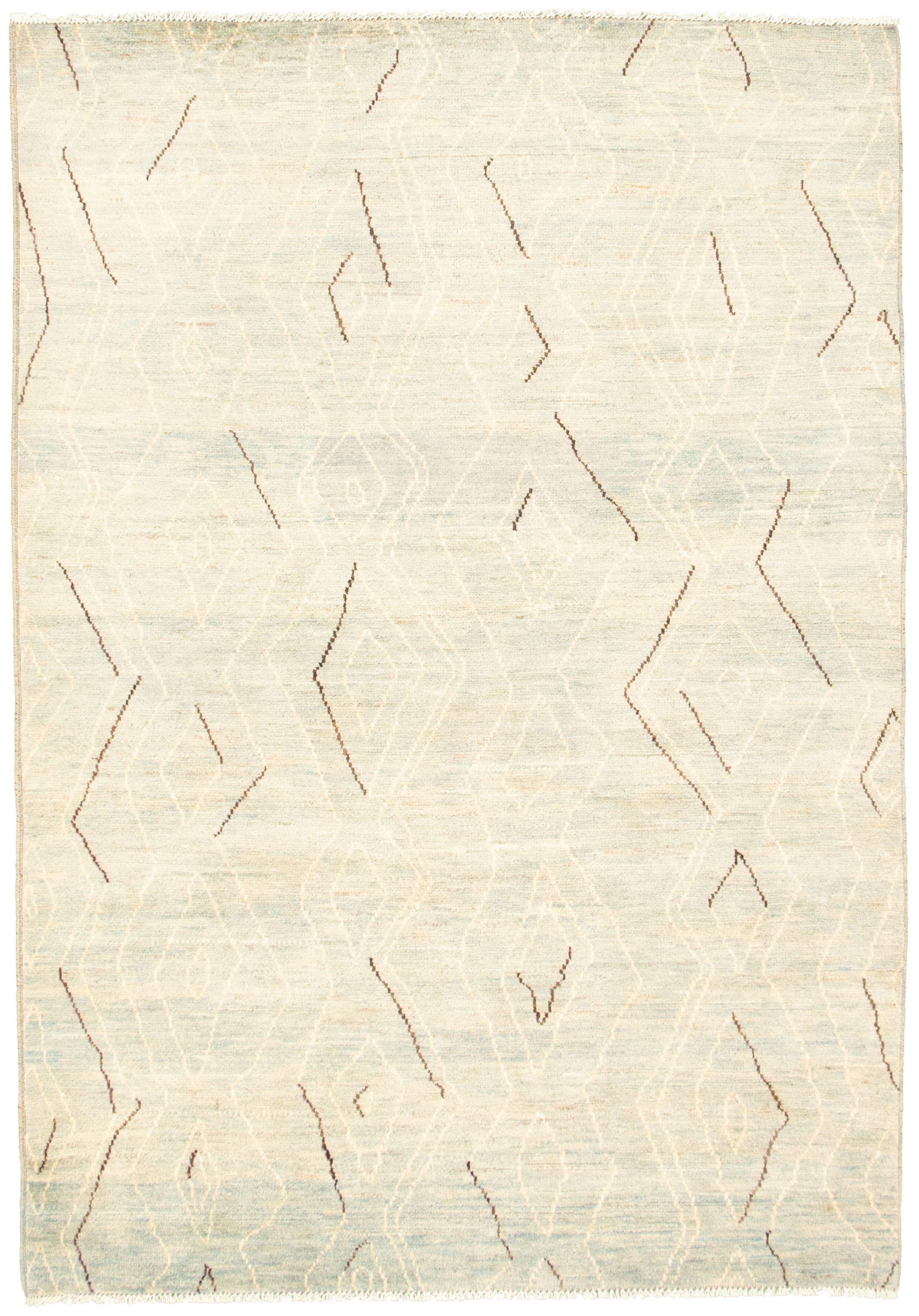 """Hand-knotted Marrakech Light Blue , Light Grey Wool Rug 6'2"""" x 8'11"""" Size: 6'2"""" x 8'11"""""""