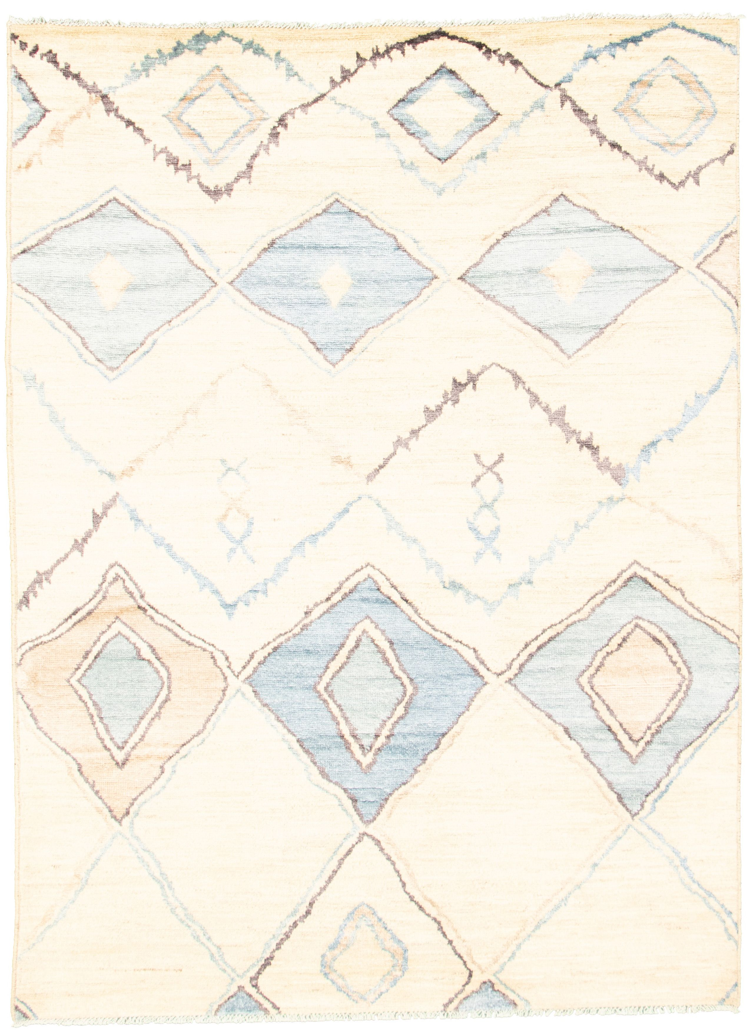 "Hand-knotted Marrakech Cream Wool/Silk Rug 6'3"" x 8'8"" Size: 6'3"" x 8'8"""