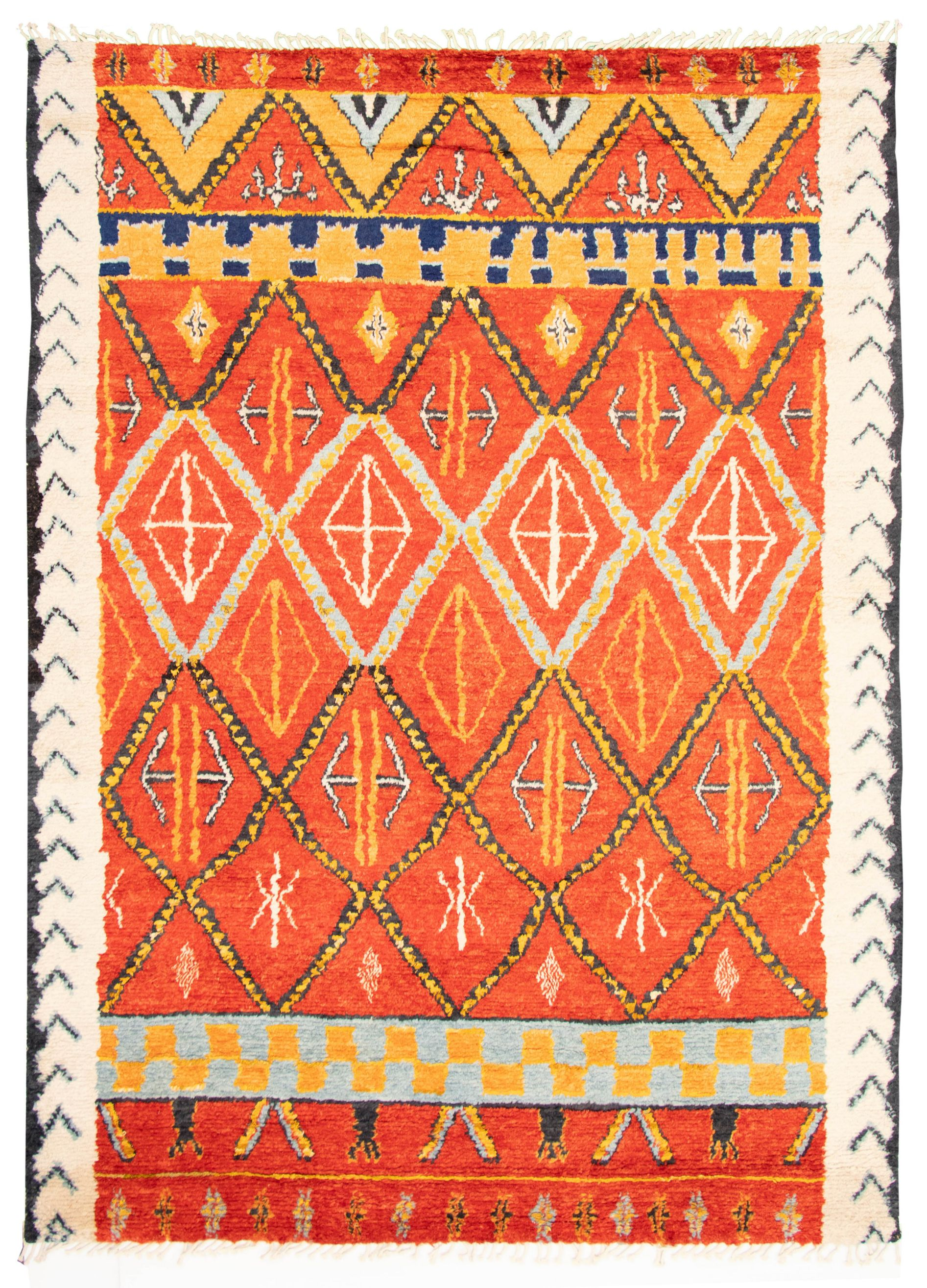 """Hand-knotted Marrakech Red Wool Rug 8'11"""" x 12'1"""" Size: 8'11"""" x 12'1"""""""