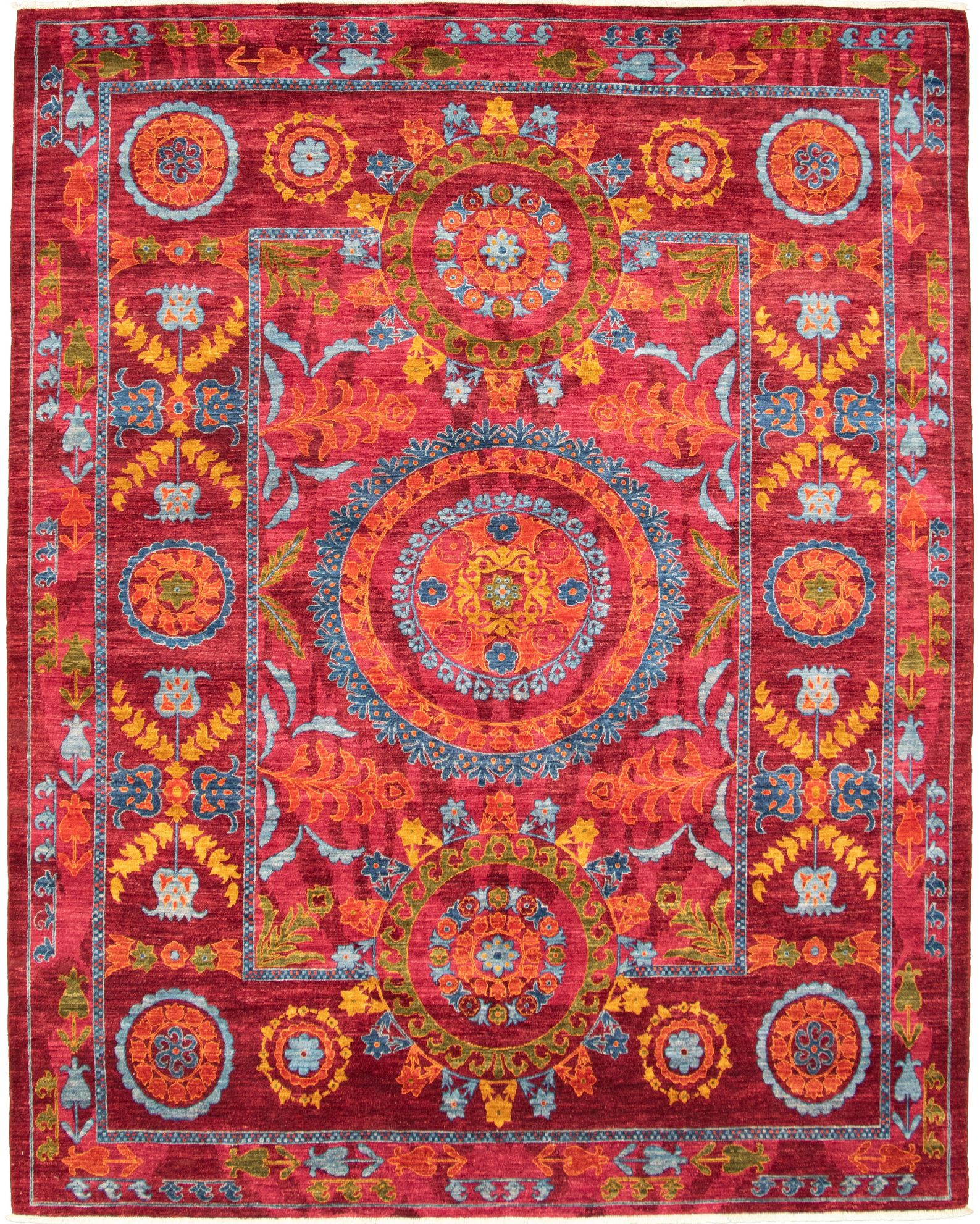 """Hand-knotted Signature Collection Burgundy Wool Rug 8'3"""" x 10'3"""" Size: 8'3"""" x 10'3"""""""