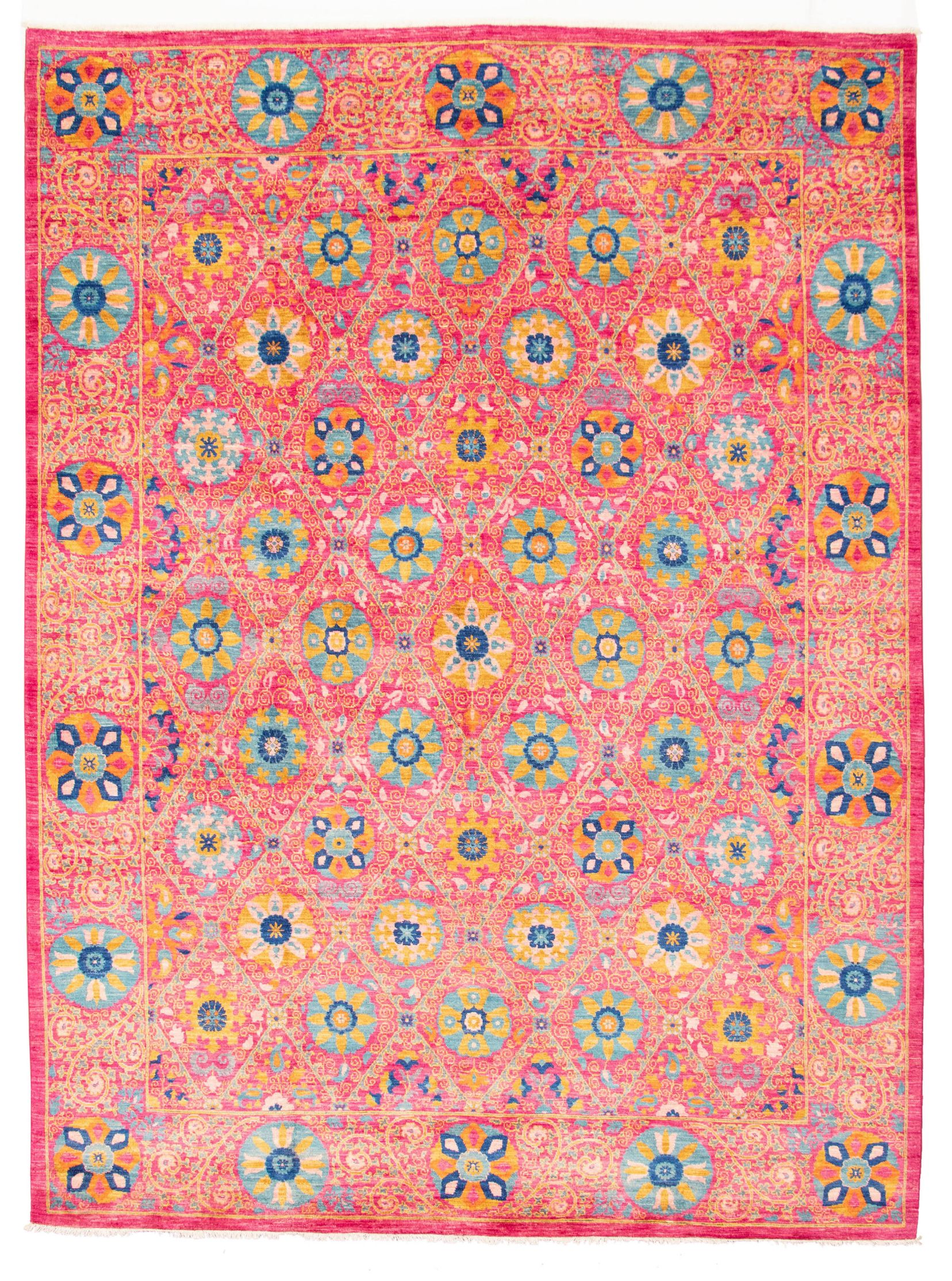 """Hand-knotted Signature Collection Dark Pink Wool Rug 8'2"""" x 10'2"""" Size: 8'2"""" x 10'2"""""""