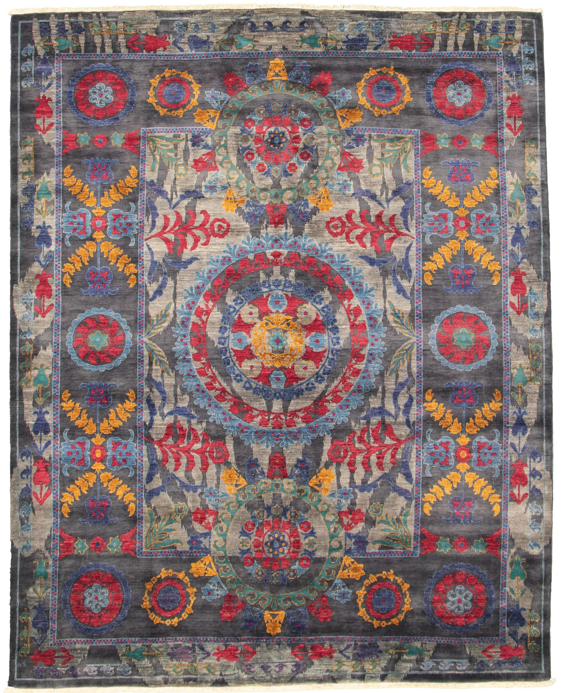 """Hand-knotted Signature Collection Dark Grey Wool Rug 8'1"""" x 10'1"""" Size: 8'1"""" x 10'1"""""""