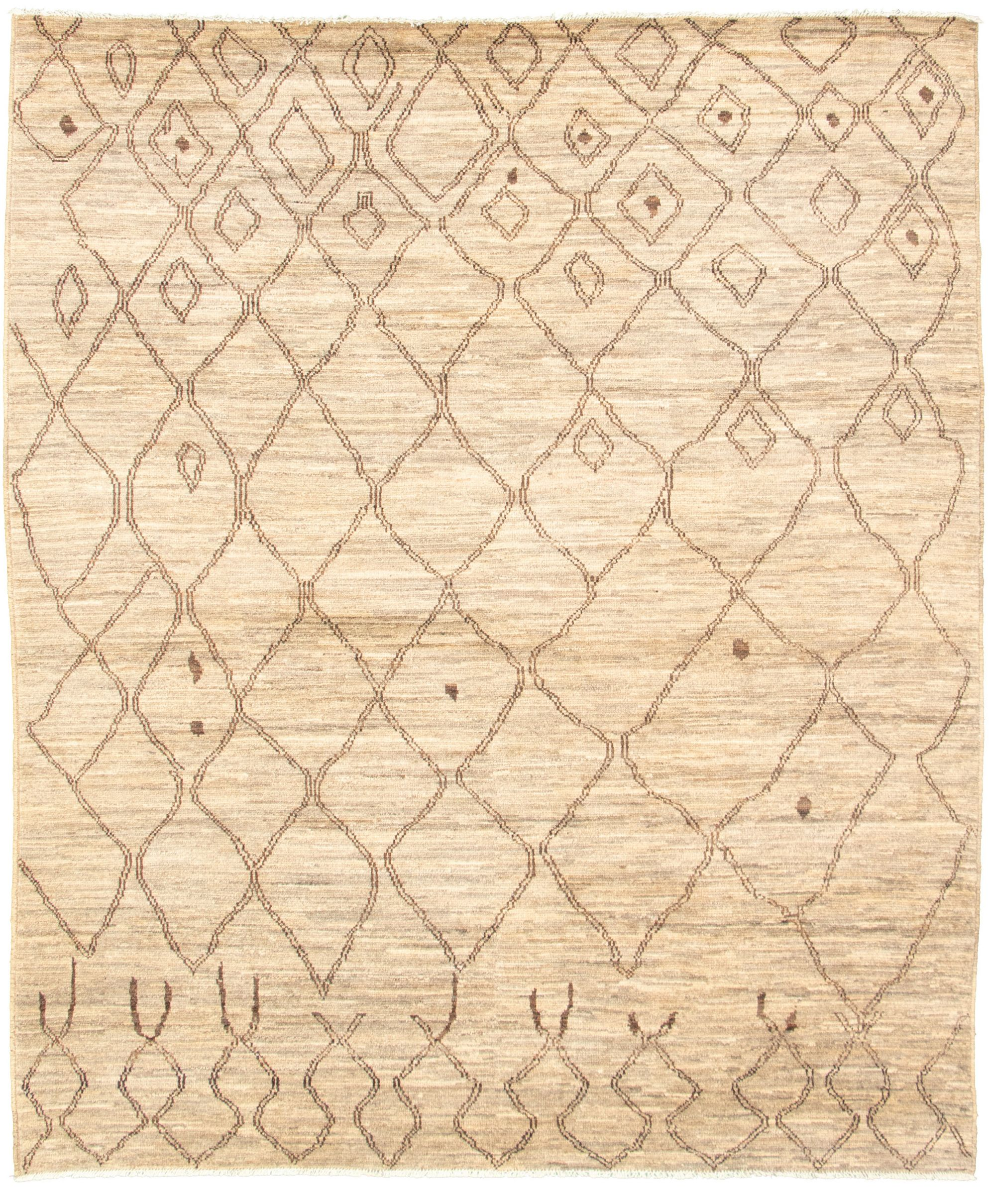 """Hand-knotted Marrakech Grey, Tan Wool Rug 8'0"""" x 9'7"""" Size: 8'0"""" x 9'7"""""""
