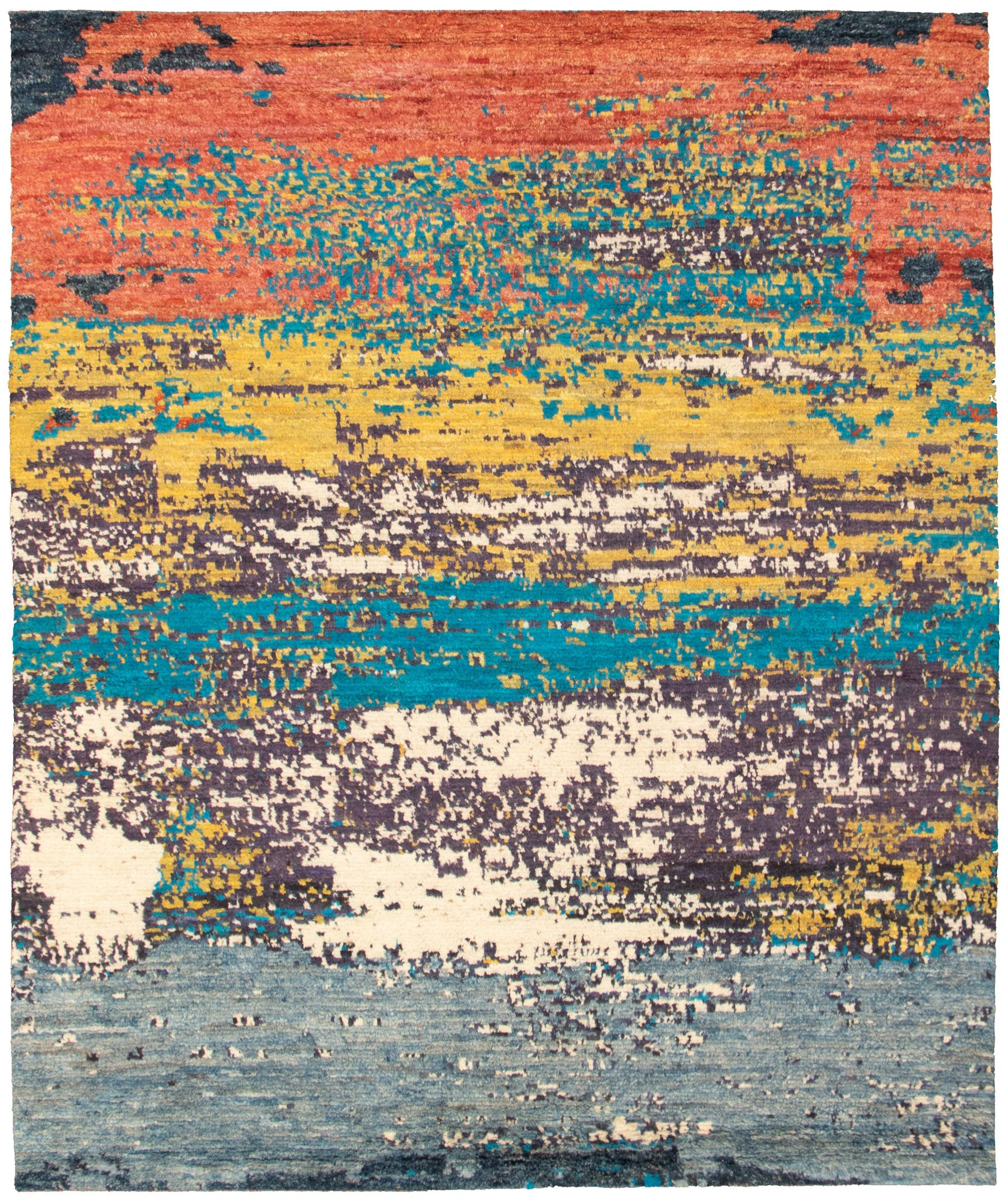 """Hand-knotted Abstract Lahore Legacy Light Gold, Slate Blue Wool Rug 8'1"""" x 9'7"""" Size: 8'1"""" x 9'7"""""""