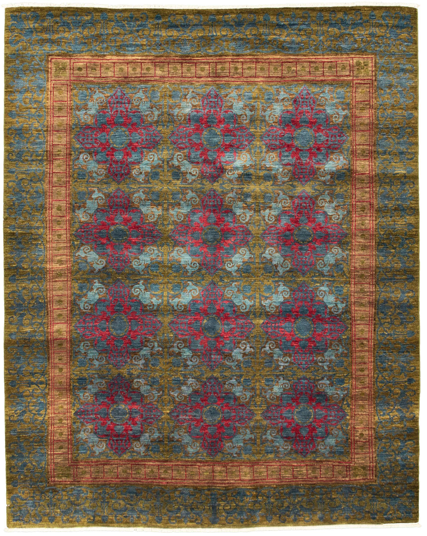 "Hand-knotted Signature Collection Olive, Red Wool Rug 12'0"" x 15'4"" Size: 12'0"" x 15'4"""