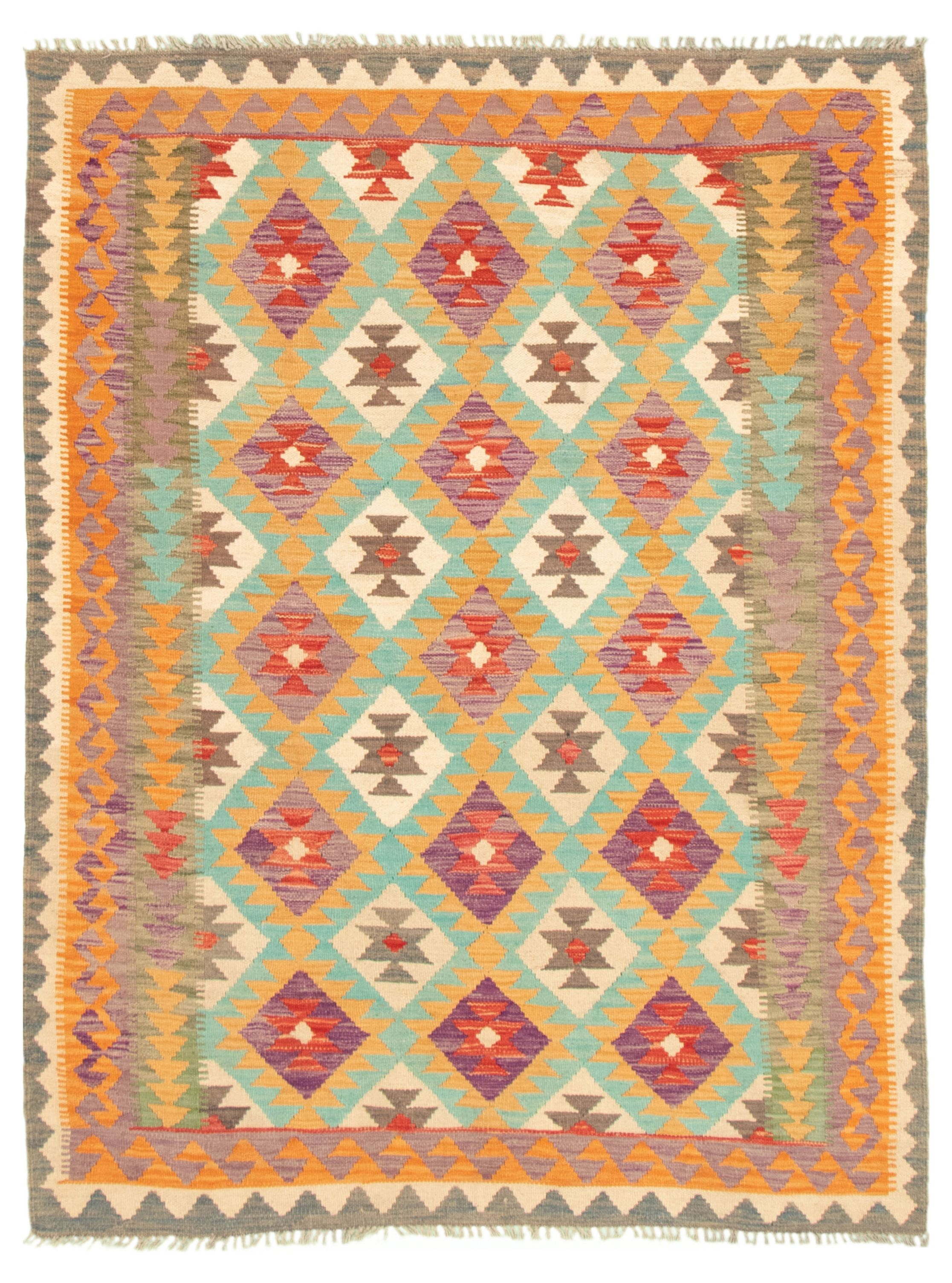 "Hand woven Bold and Colorful  Orange, Purple Wool Kilim 5'0"" x 6'6"" Size: 5'0"" x 6'6"""