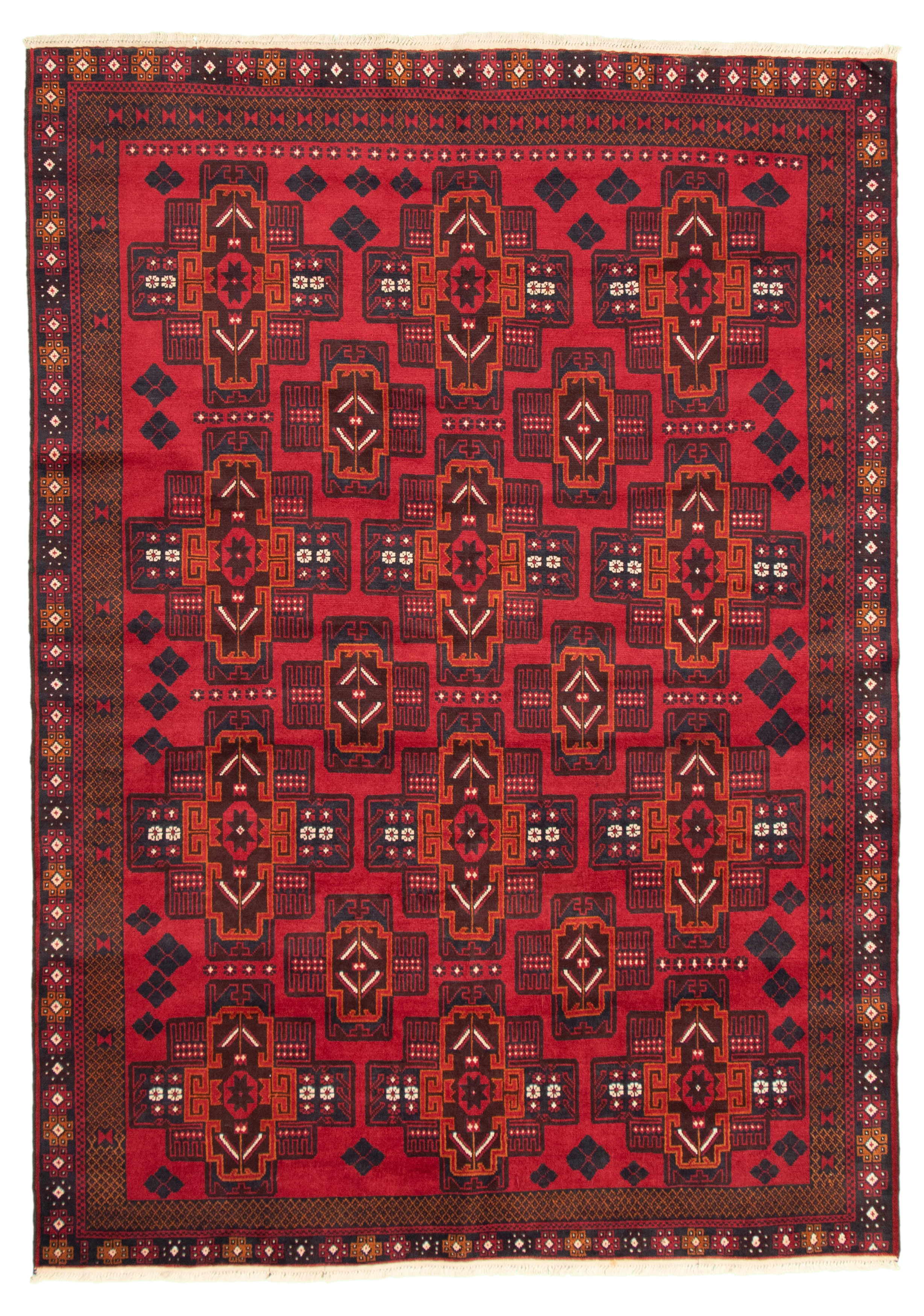 """Hand-knotted Teimani Red Wool Rug 6'6"""" x 8'7"""" Size: 6'6"""" x 8'7"""""""